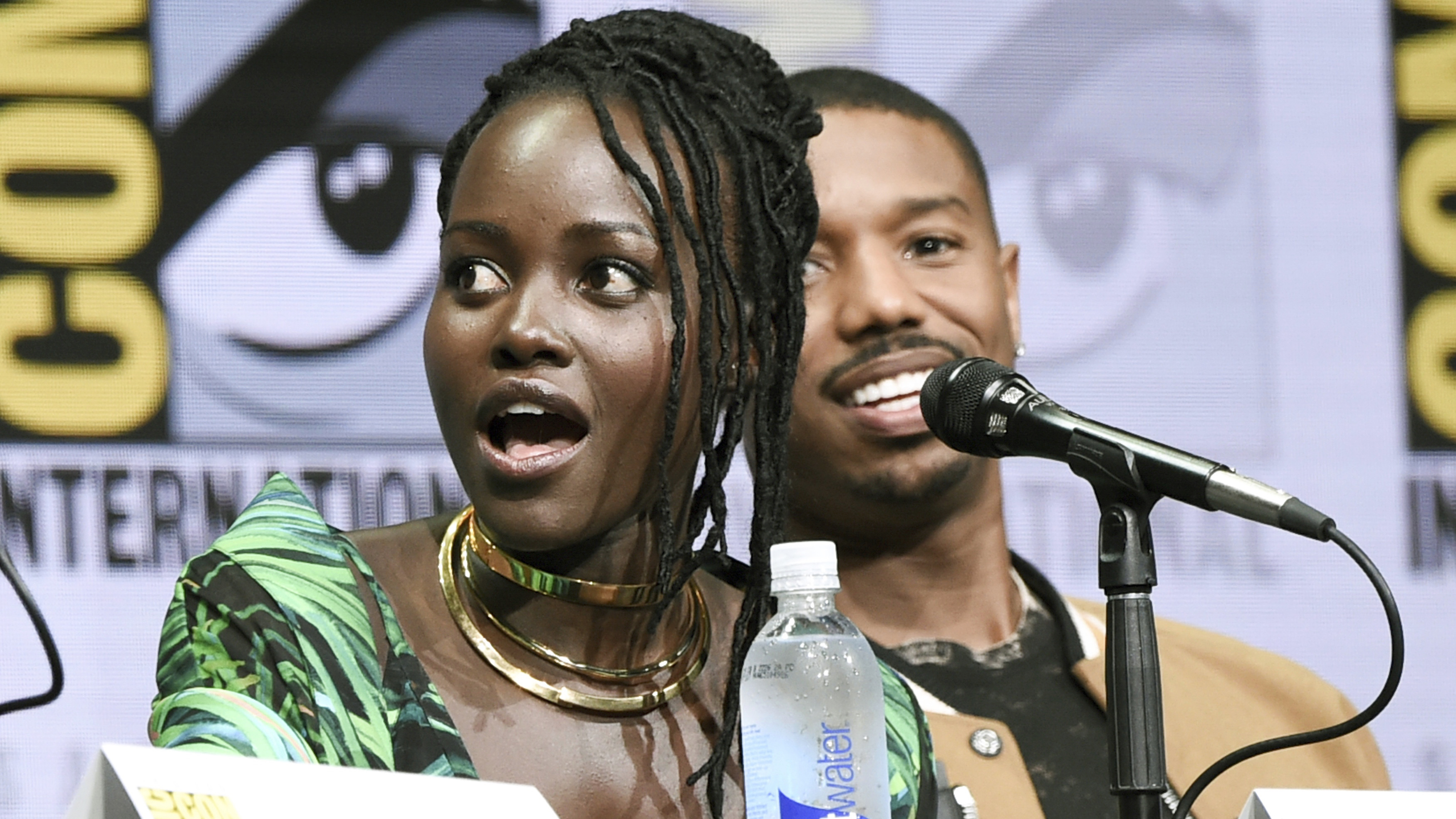 "Lupita Nyong'o, left, and Michael B. Jordan attend the ""Marvel"" panel on day 3 of Comic-Con International on Saturday, July 22, 2017, in San Diego. (Photo by Richard Shotwell/Invision/AP)"