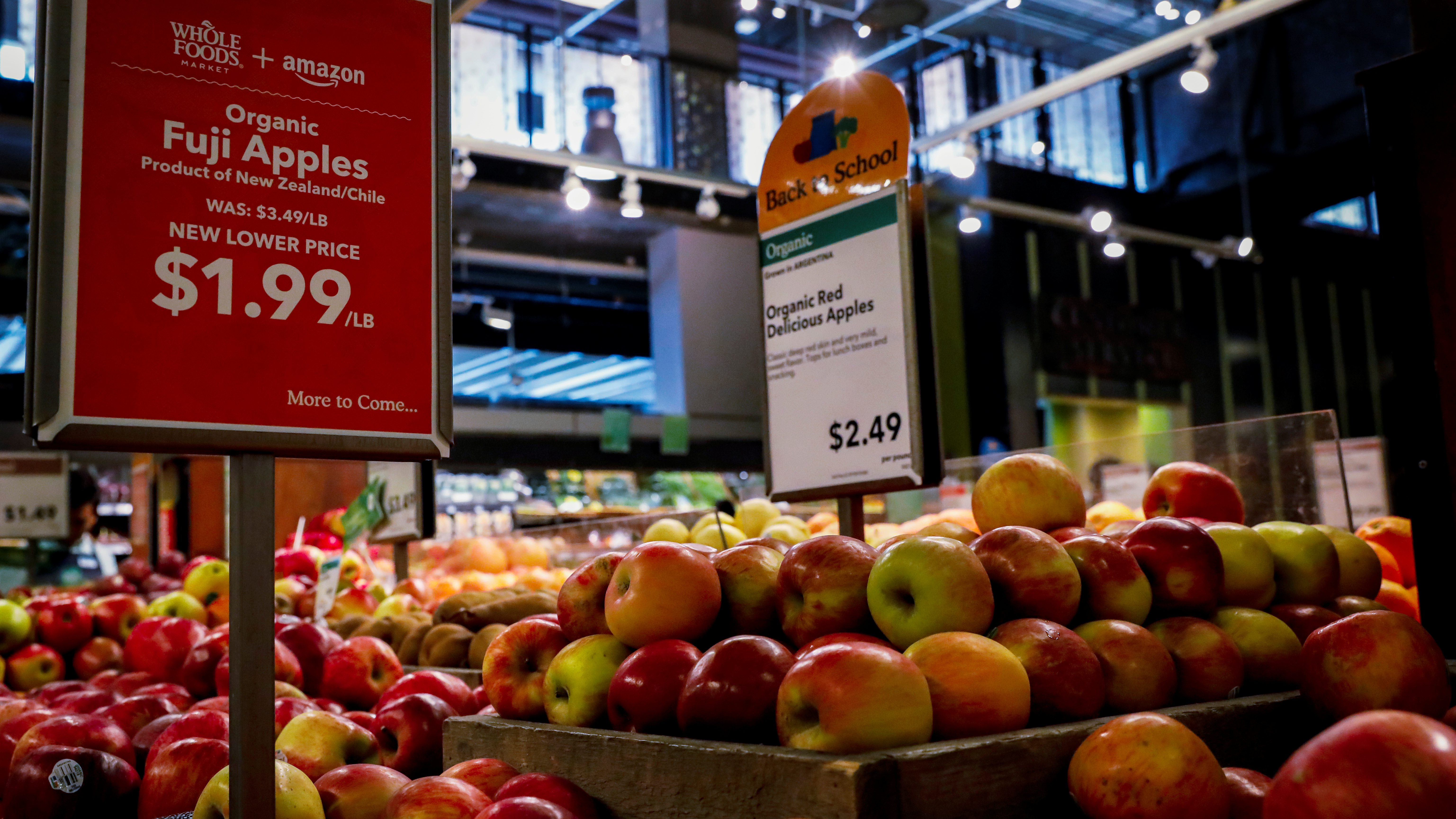 Apples are displayed at a Whole Foods store in New York