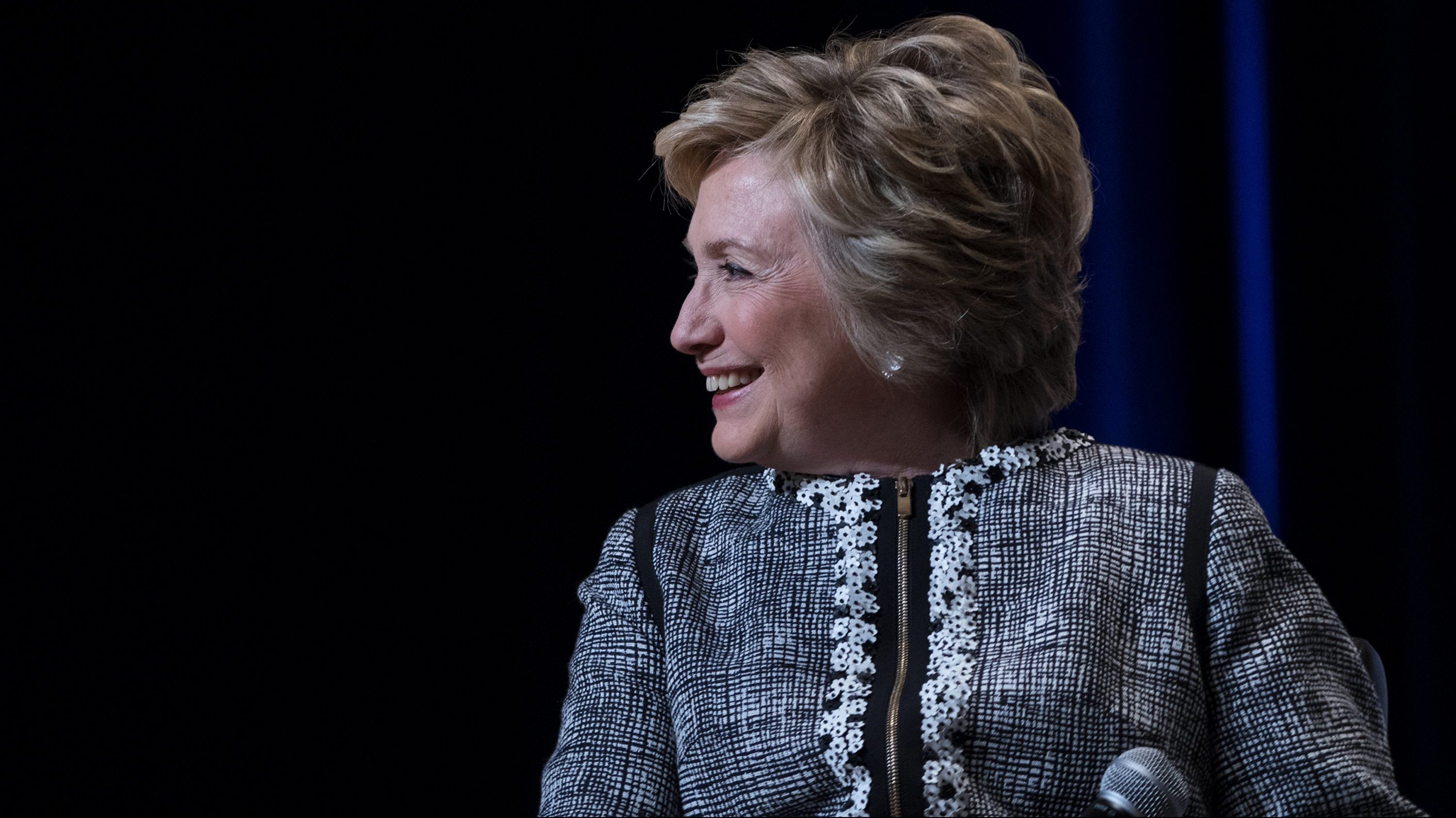 Former Secretary of State Hillary Clinton looks out at the audience as she speaks during the Book Expo event in New York, Thursday, June 1, 2017.