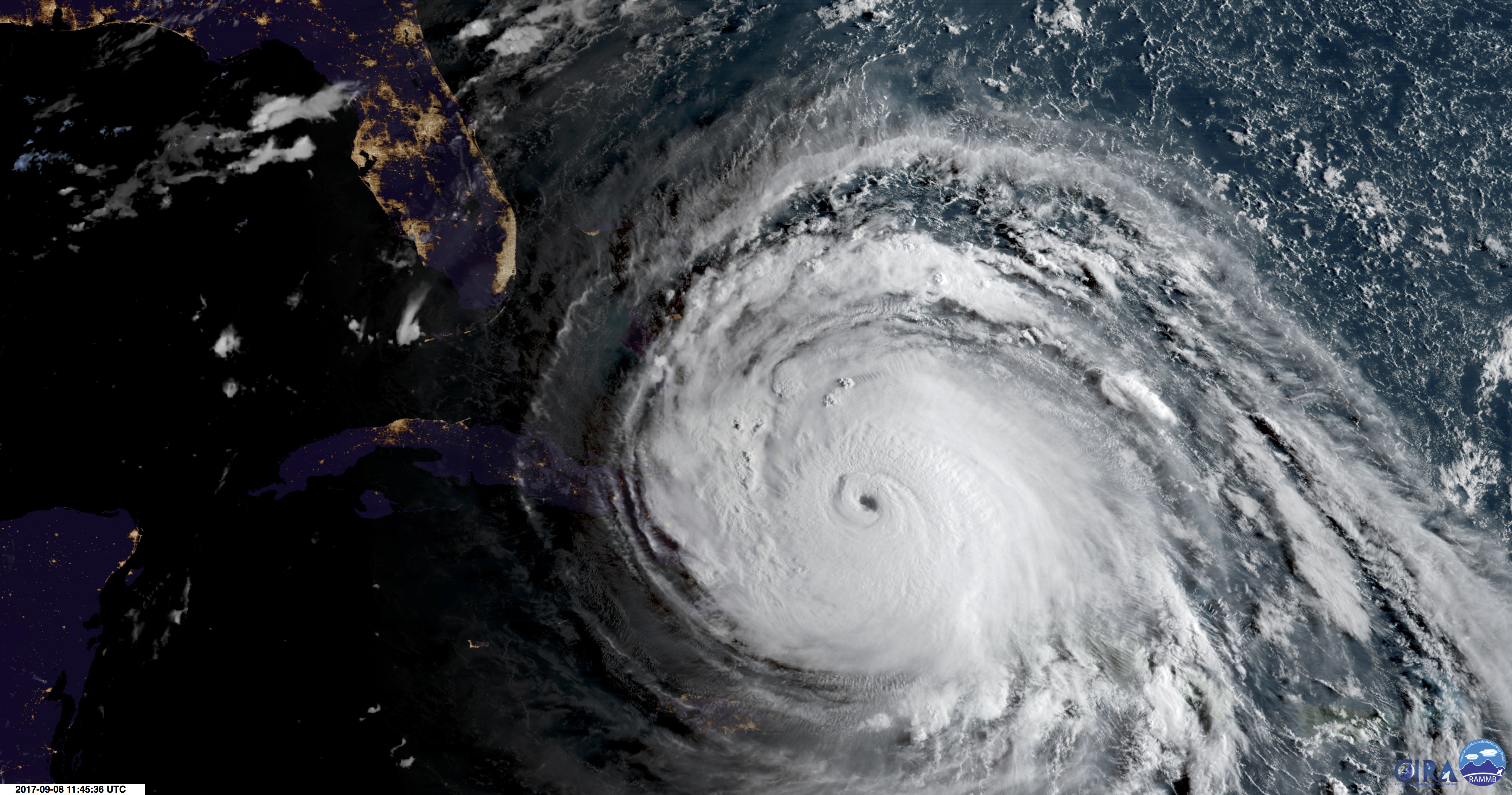 Satellite image of Hurricane Irma on Sept. 8, 2017.