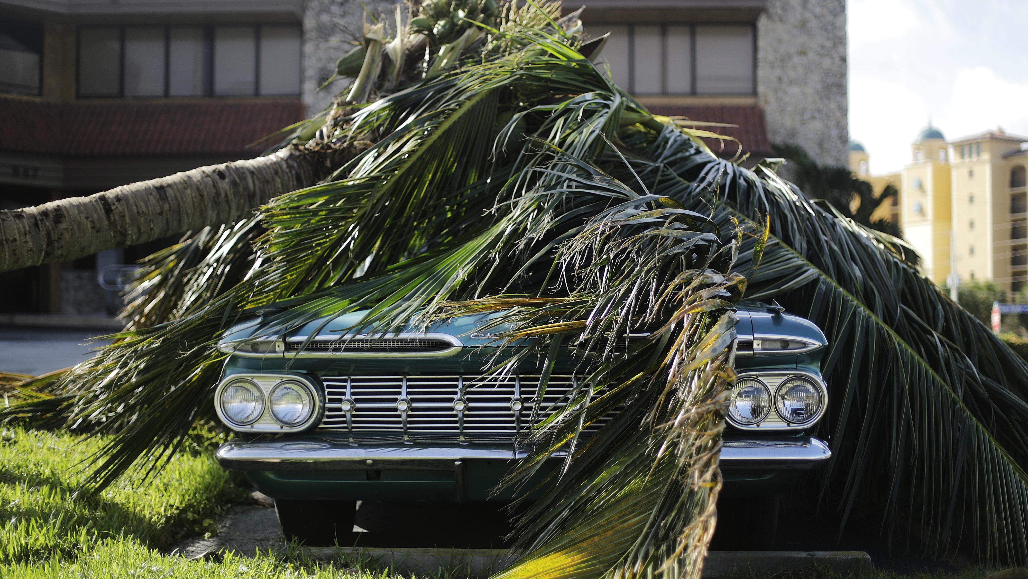 Car damaged by Hurricane Irma.
