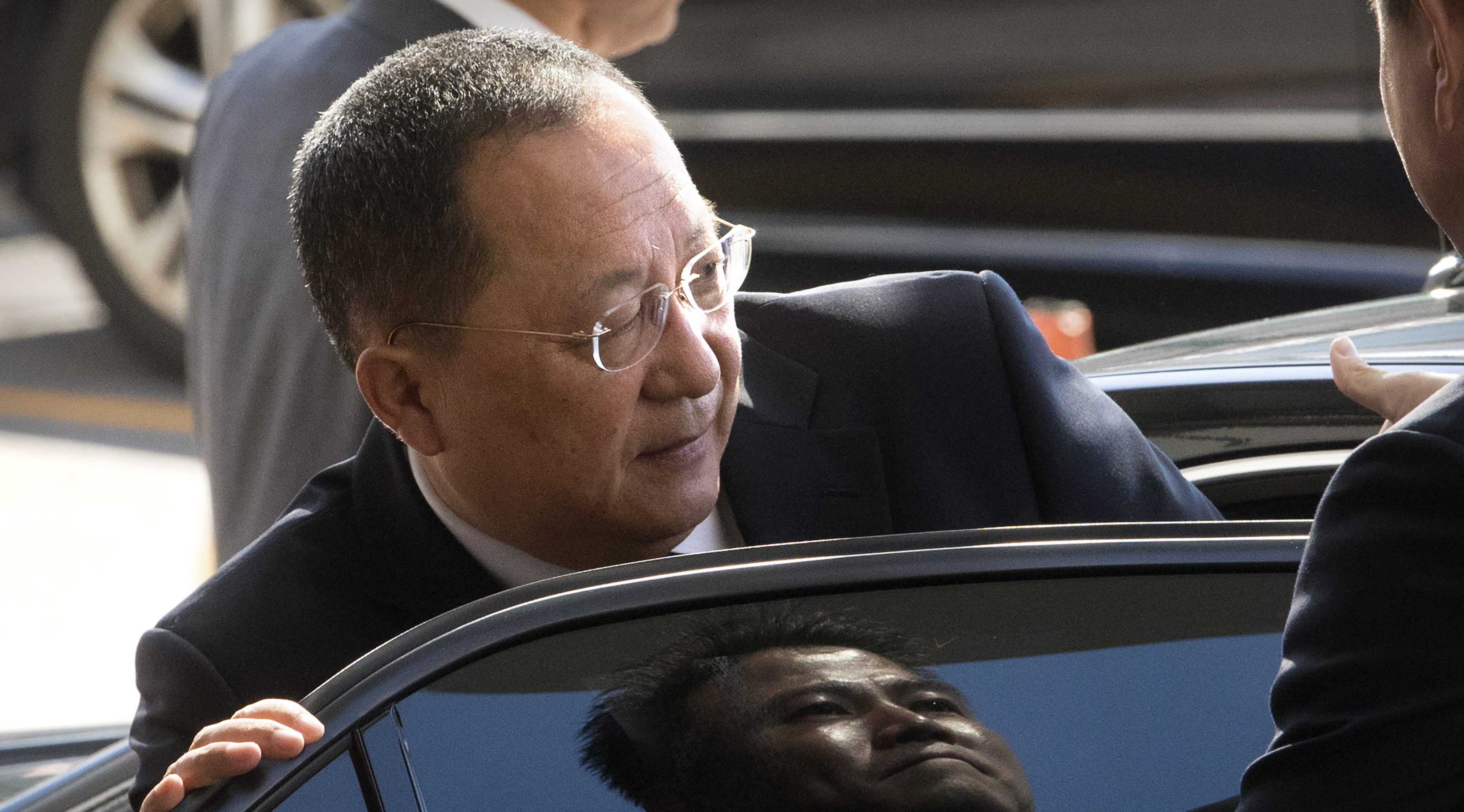 North Korean Foreign Minister Ri Yong Ho gets into a car at Beijing Capital International Airport in Beijing, Tuesday, Sept. 19, 2017. Ri flew from Pyongyang to Beijing on Tuesday morning to go to New York for the U.N. General Assembly.