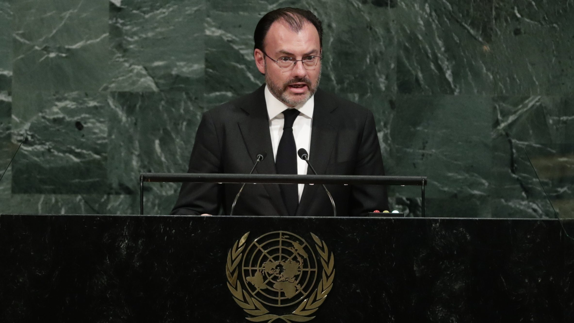 Mexican Foreign Relations Secretary Luis Videgaray addresses the United Nations General Assembly Thursday, Sept. 21, 2017, at the United Nations headquarters. (AP Photo/Frank Franklin II)