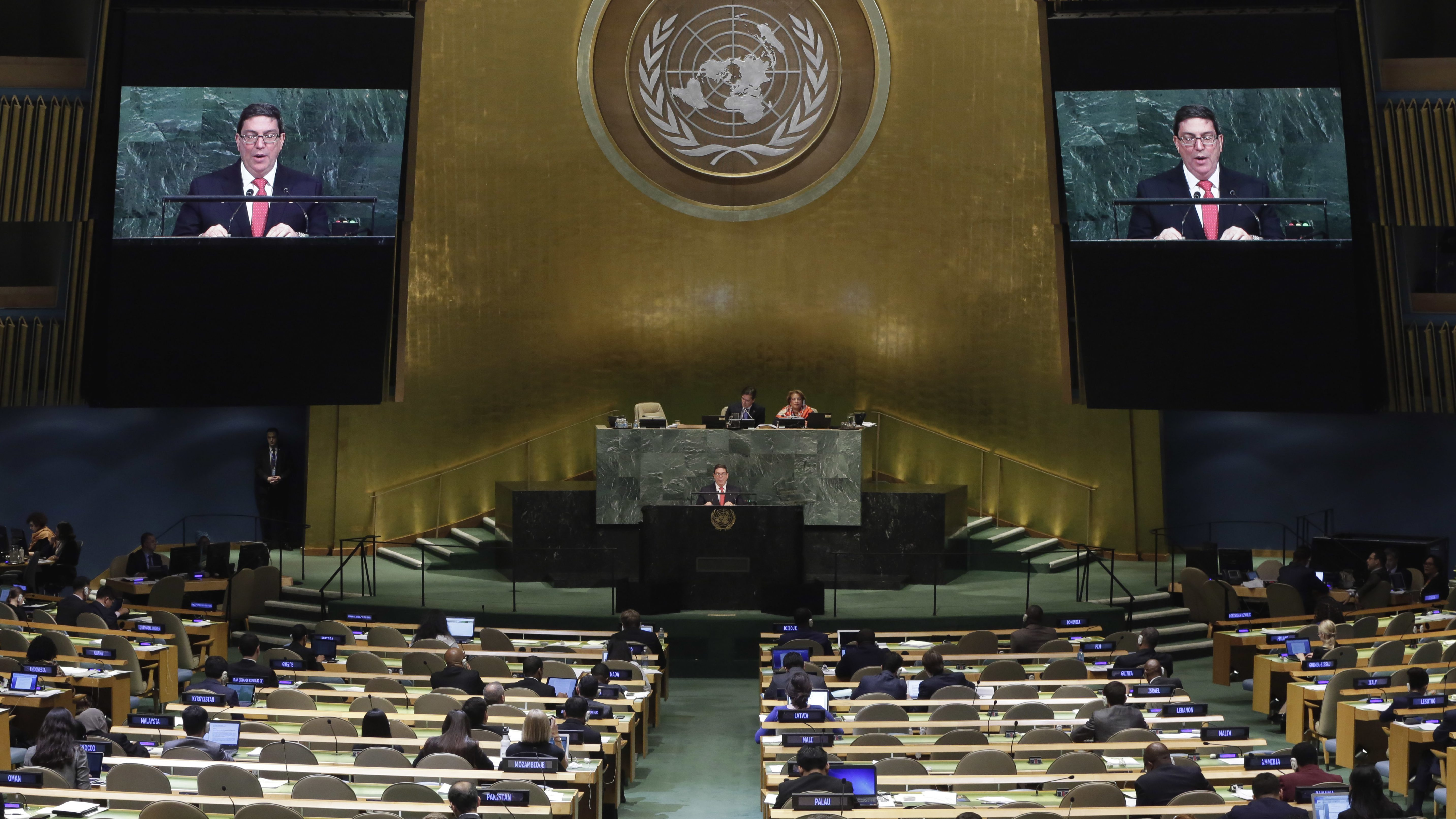 Foreign Minister Bruno Rodríguez Parrilla of Cuba addresses the United Nations General Assembly, at U.N. headquarters, Friday, Sept. 22, 2017.