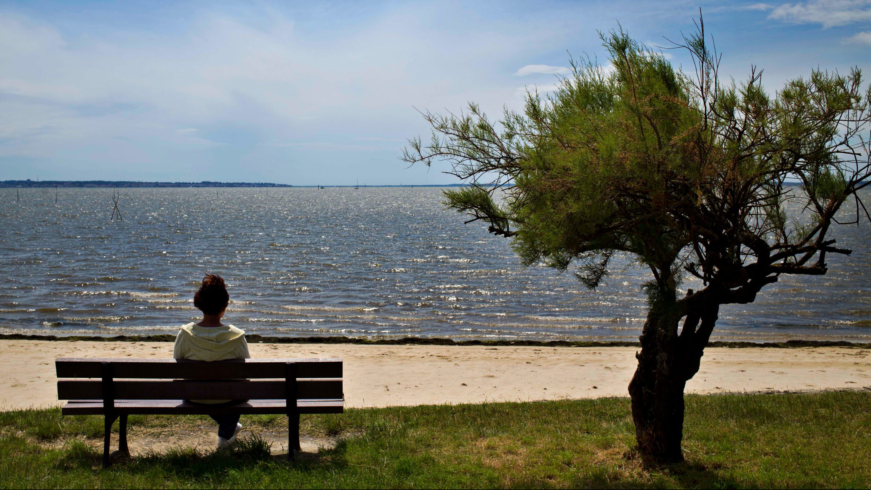 A woman sits on a bench at a beach near the town of Arcachon, France, Wednesday, June 15, 2016.