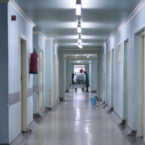 This 2014 photo shows the rundown corridors of the general operating wing at the Mulago National Referral Hospital in Kampala, Uganda.