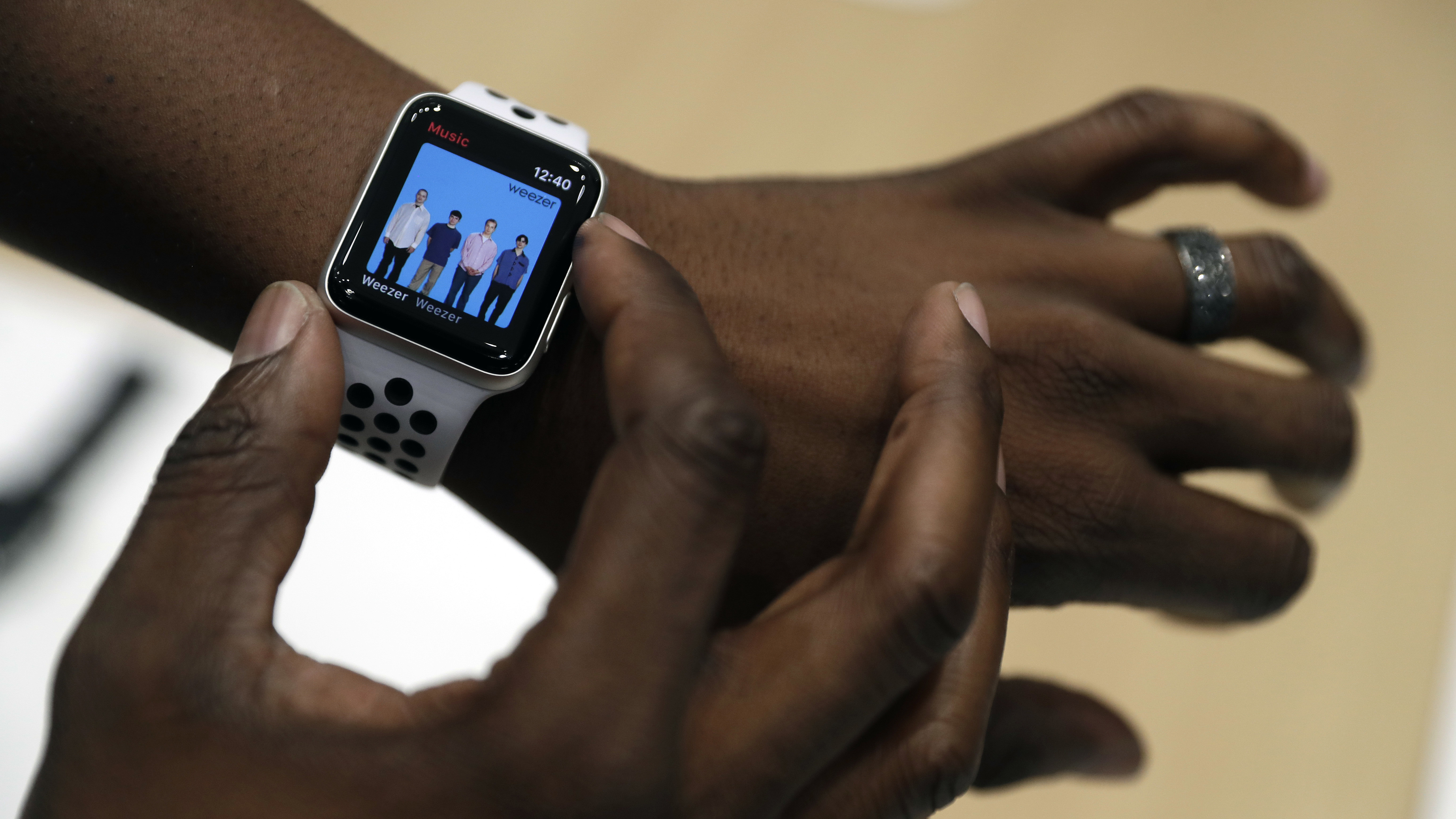 The new Apple Watch Series 3 is displayed in the showroom after the new product announcement at the Steve Jobs Theater on the new Apple campus on Tuesday, Sept. 12, 2017, in Cupertino, Calif. (AP Photo/Marcio Jose Sanchez)