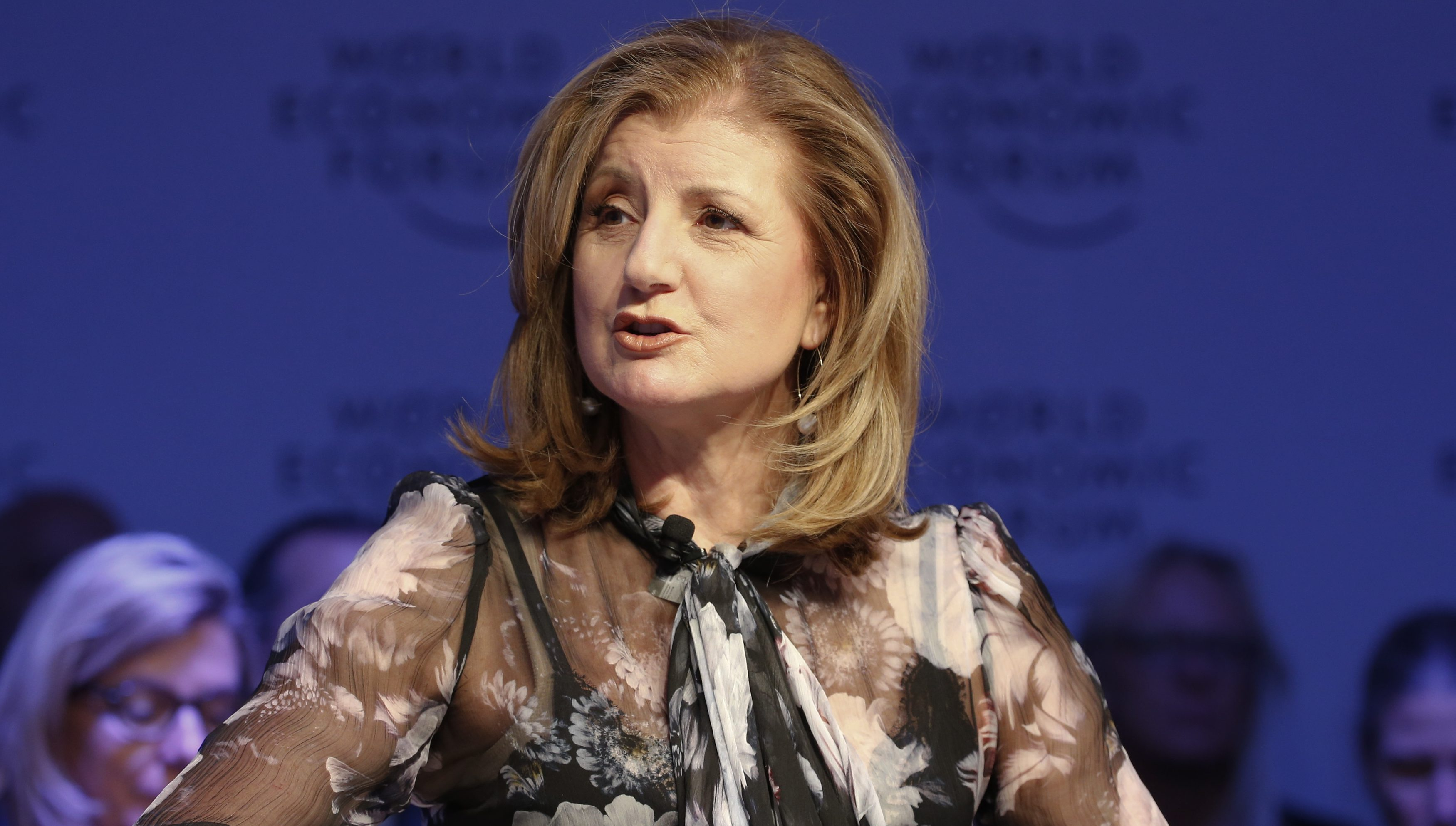 Arianna Huffington, Founder, Thrive Global, attends the annual meeting of the World Economic Forum (WEF) in Davos, Switzerland, January 18, 2017.