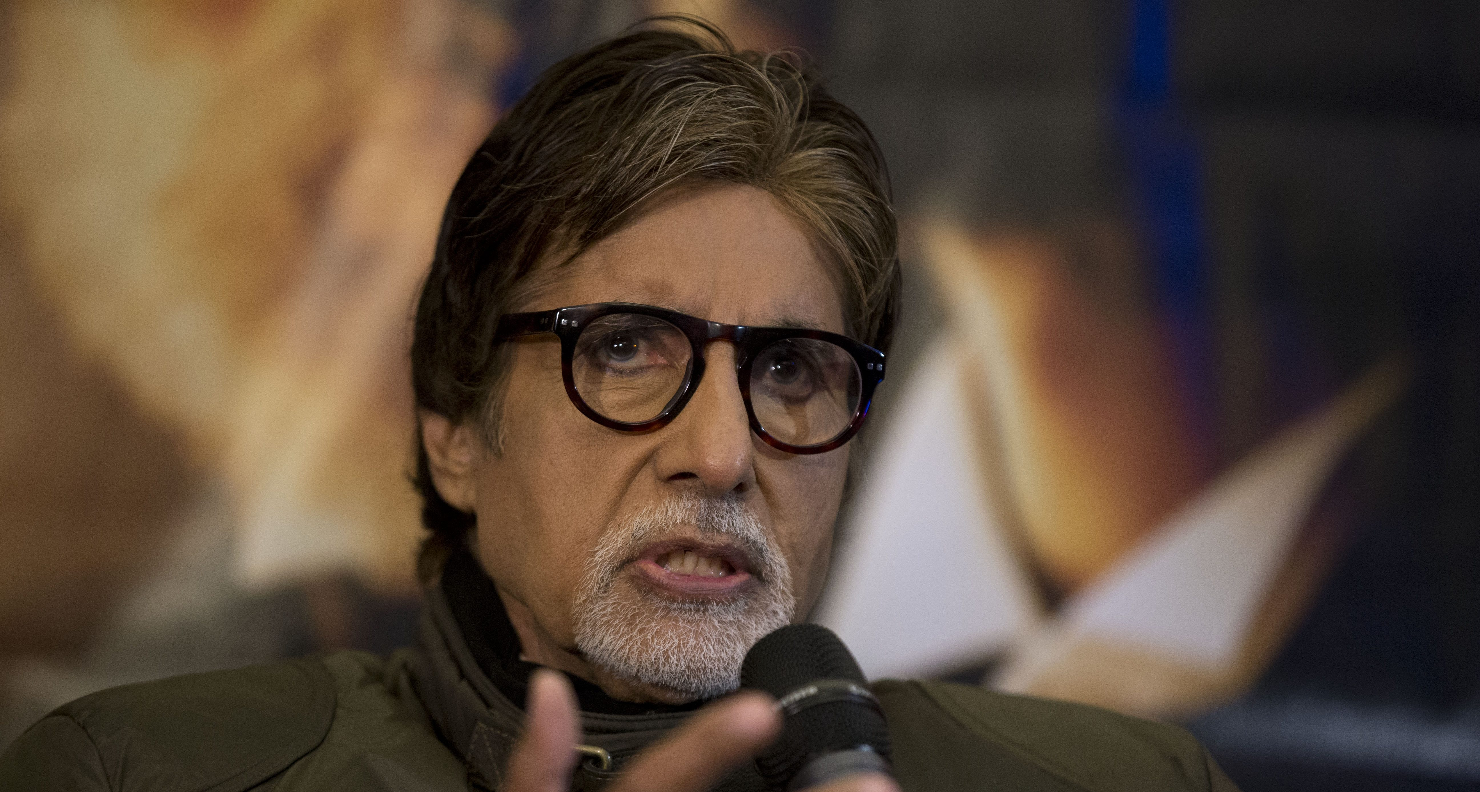 "Indian actor Amitabh Bachchan speaks during a press conference to promote the movie ""Shamitabh"" at a hotel in London, Tuesday, Jan. 27, 2015."