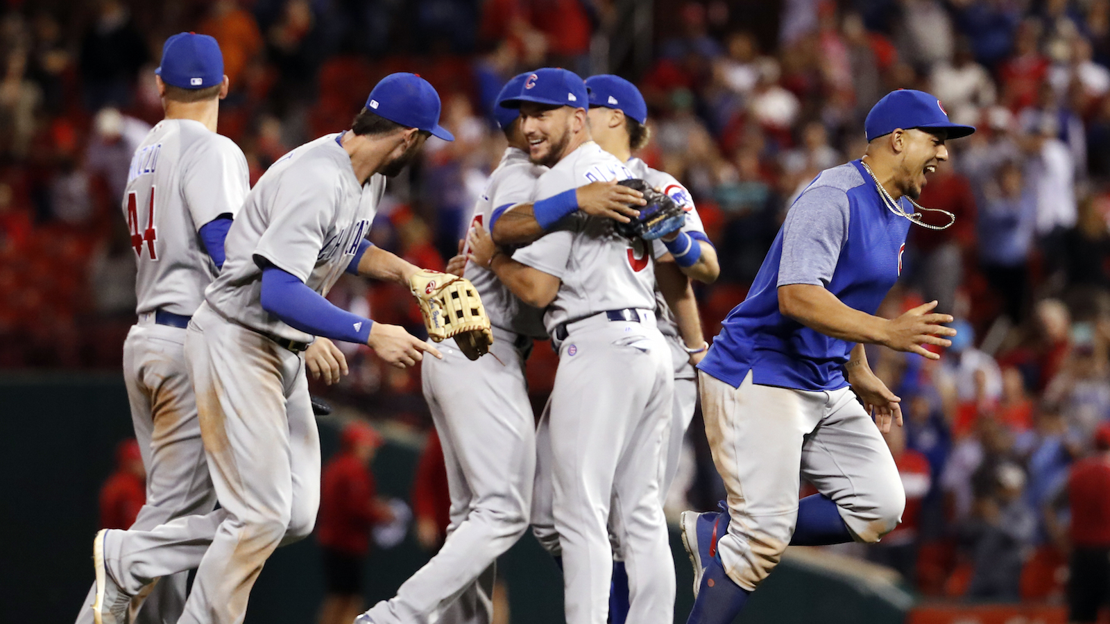 Members of the Chicago Cubs celebrate after defeating the St. Louis Cardinals in a baseball game to clinch the National League Central title Wednesday, Sept. 27, 2017, in St. Louis. (AP Photo/Jeff Roberson)