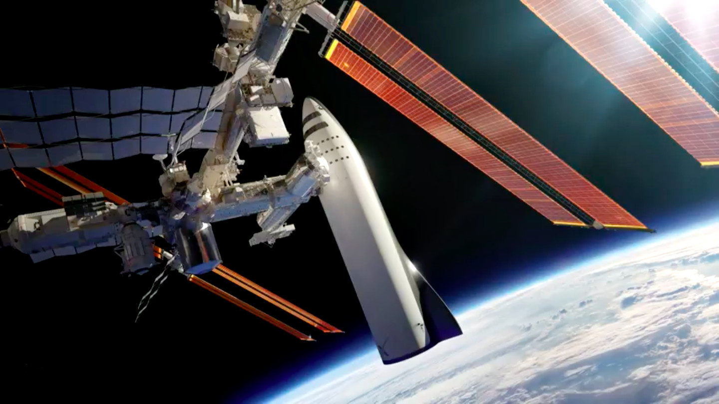"""SpaceX's """"BFR"""" space vehicle is shown docked with the International Space Station in this rendering."""