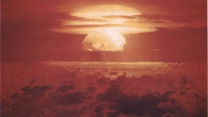 Nuclear weapon test Bravo (yield 15 Mt) on Bikini Atoll. The test was part of the Operation Castle. The Bravo event was an experimental thermonuclear device surface event.