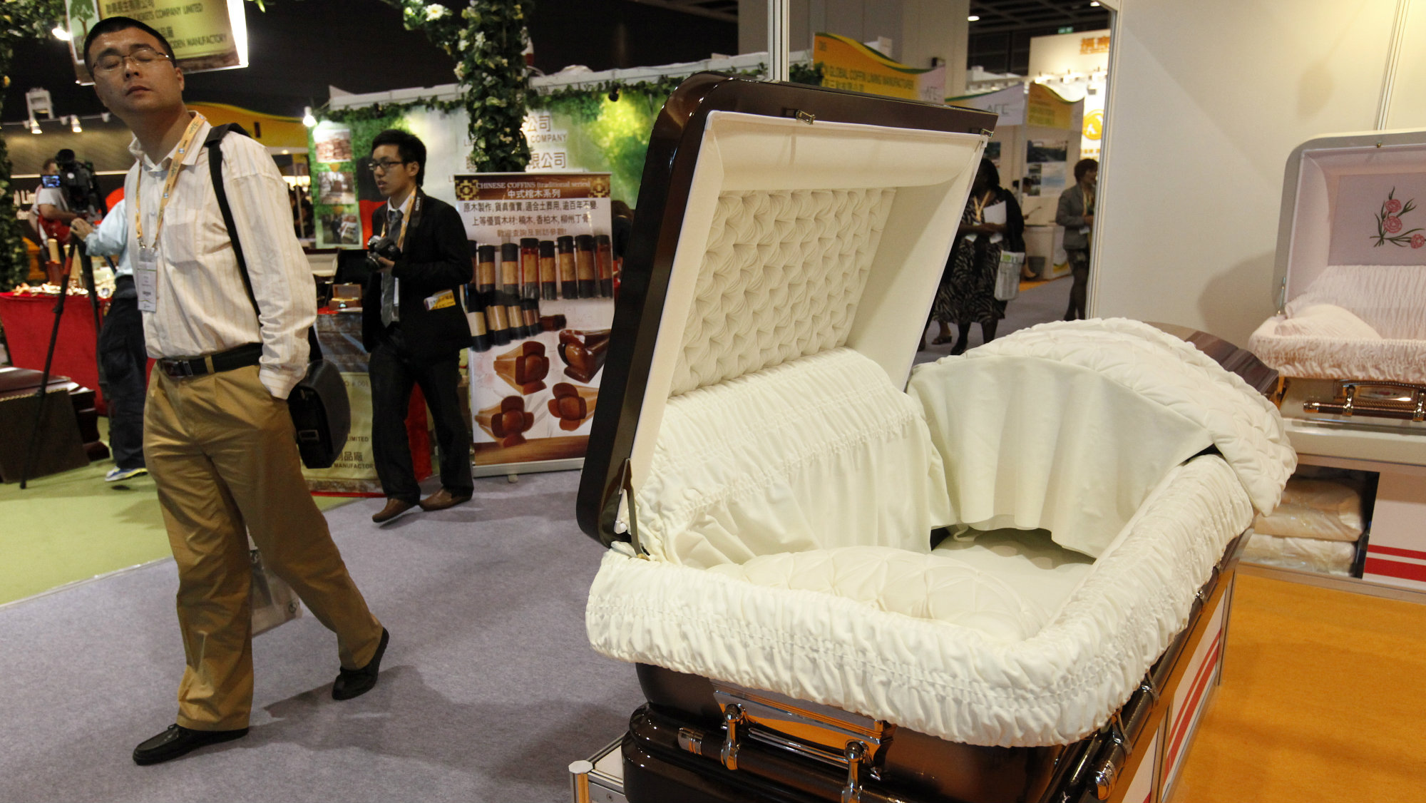 A open coffin is presented at the 'Asia Funeral Expo 2011' in Hong Kong, China, on 19 May 2011.