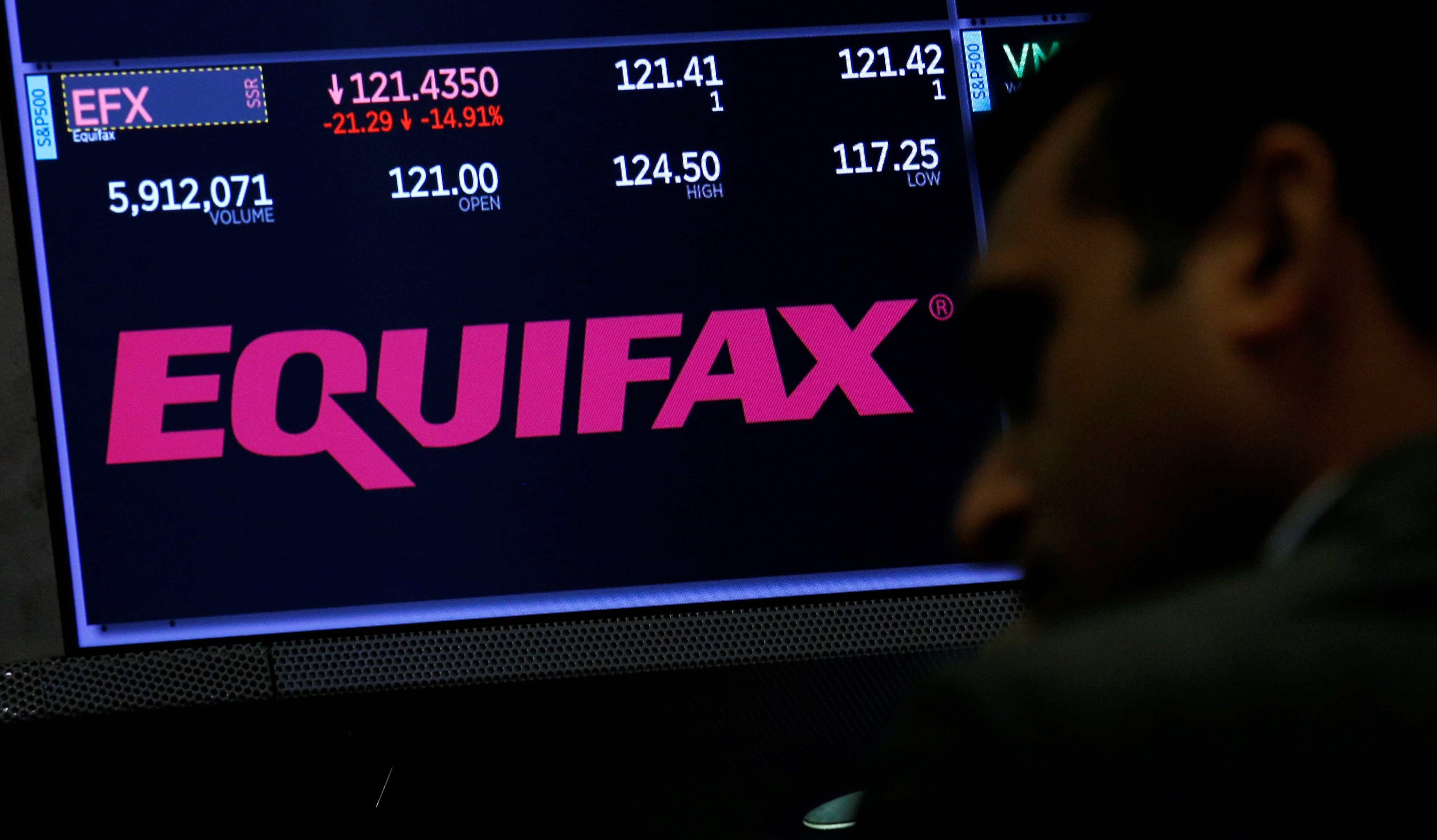 Trading information and the company logo are displayed on a screen where the stock is traded on the floor of the New York Stock Exchange (NYSE) in New York, U.S., September 8, 2017.