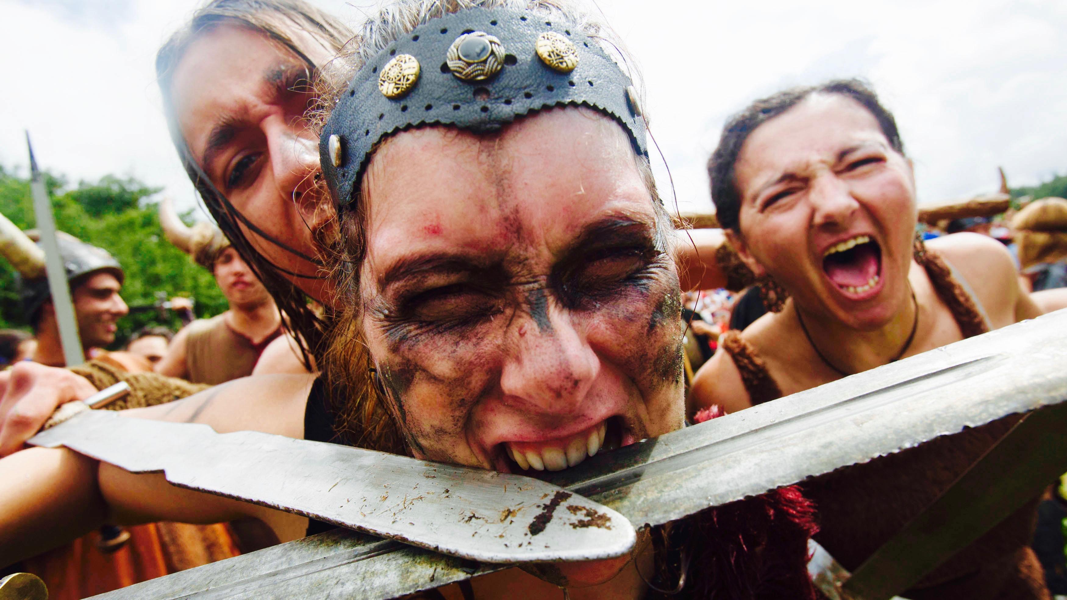 Women dressed as Vikings take part in the annual Viking festival of Catoira in Spain.