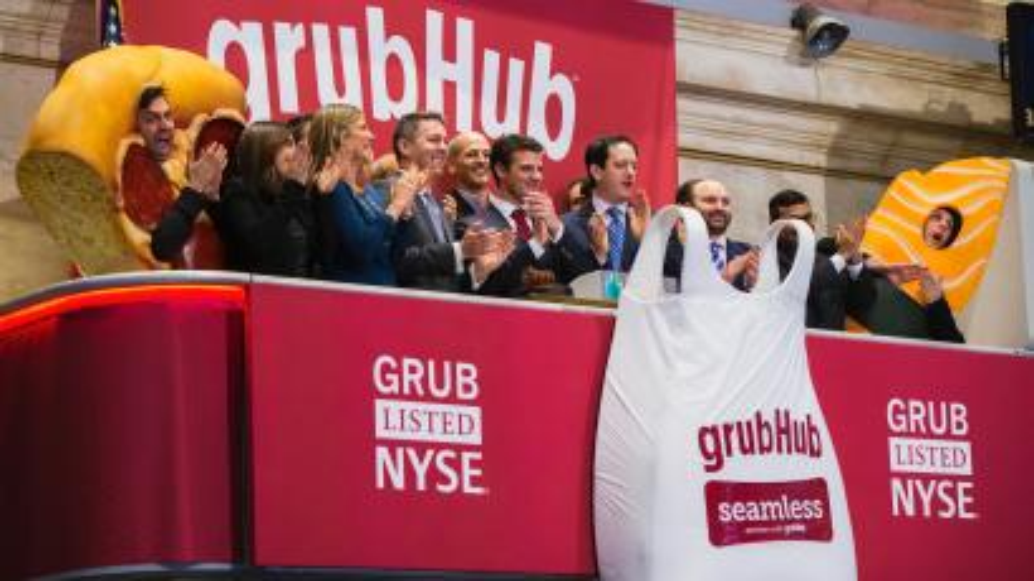 GrubHub on the New York Stock Exchange.