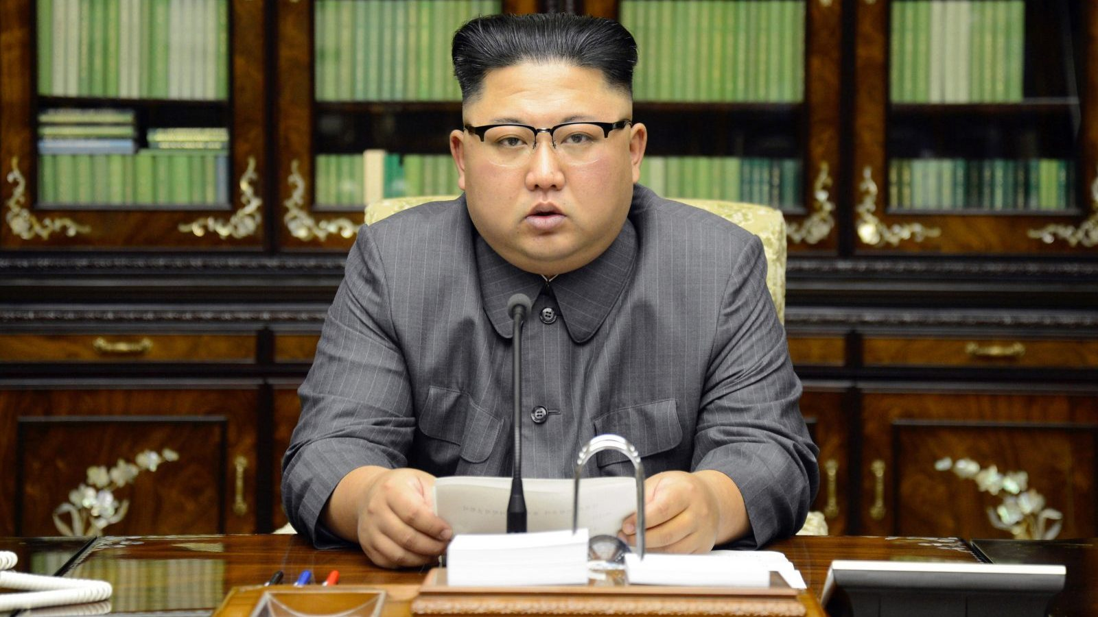 epa06218938 A photo released by the North Korean Central News Agency (KCNA), the state news agency of North Korea, shows North Korean Supreme Leader Kim Jong-un delivering a speech in Pyongyang, North Korea, 21 September 2017 (issued 22 September 2017). The North Korean leader released a statement on the day vowing to make US President Donald J. Trump 'pay dearly' for threatening North Korea in remarks he made during the 72nd United Nations General Assembly held in New York, USA. President Trump, during the assembly on 19 September 2017, vowed to 'totally destroy' North Korea if it posed threats to the USA and its allies.