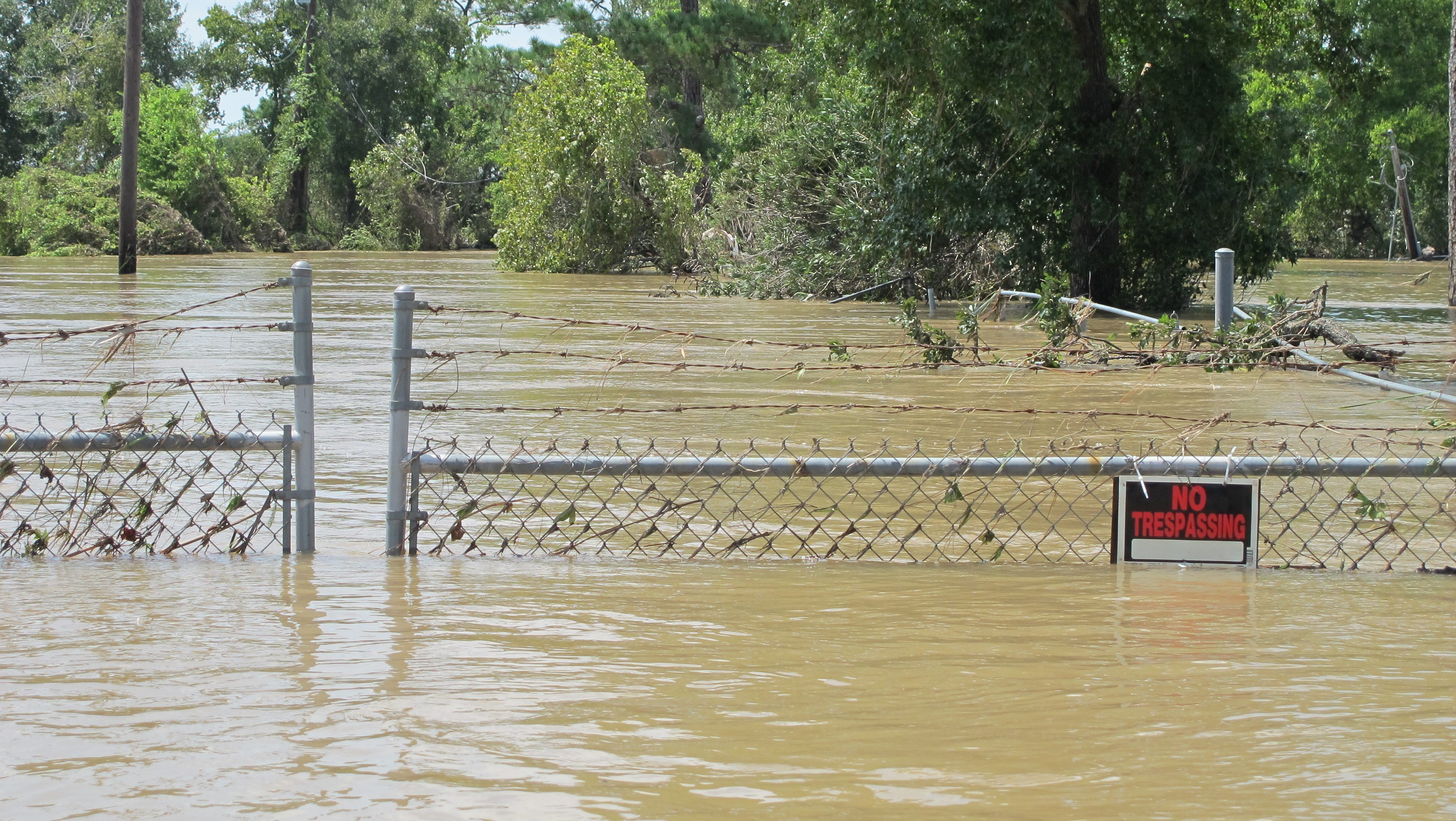 This is a picture of the Highlands Acid Pit Superfund site in Highlands, Texas, shortly after Hurricane Harvey. Normally, it's a place where toxic waste is cordoned off from public access.