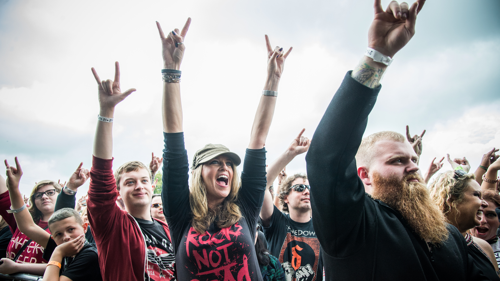 Festival goers seen during Avatar at the Louder Than Life Festival on Saturday, Oct. 1, 2016, in Louisville, Ky. (Photo by Amy Harris/Invision/AP)