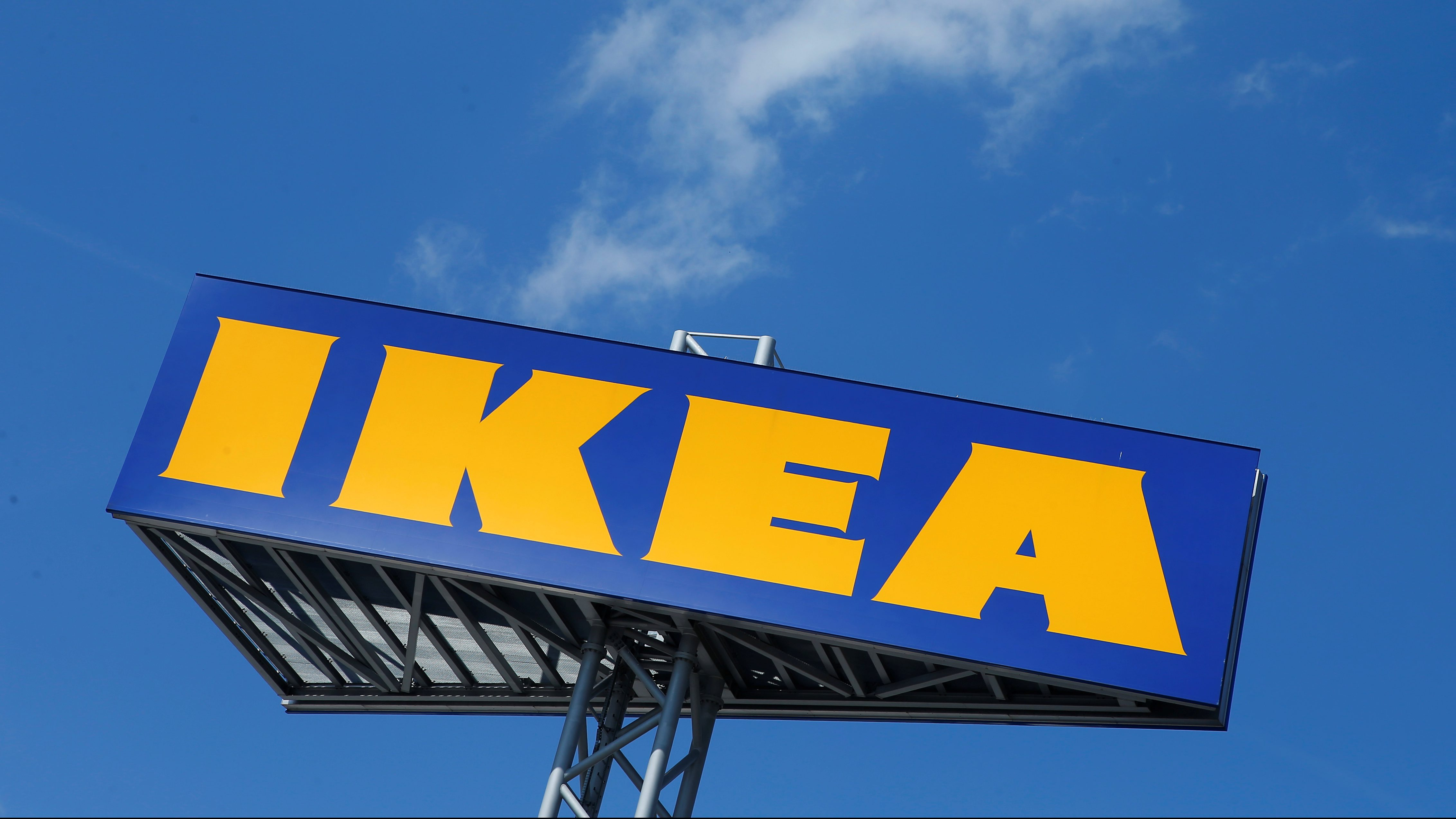 The logo of IKEA is seen above a store in Voesendorf, Austria, April 24, 2017. REUTERS/Heinz-Peter Bader - RC1850939B70