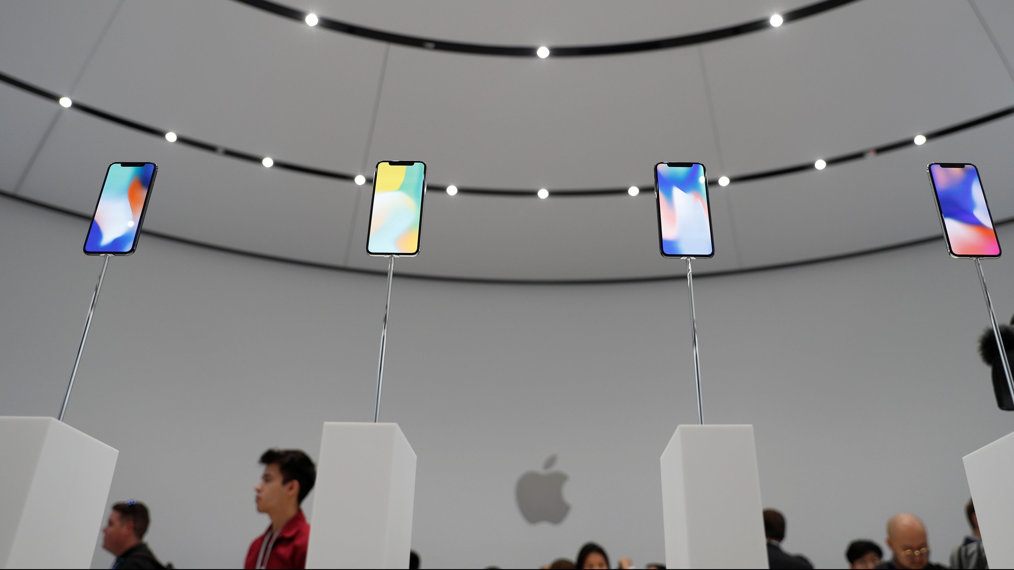 Apple iPhone X samples are displayed during a product launch event in Cupertino, California, U.S. September 12, 2017.