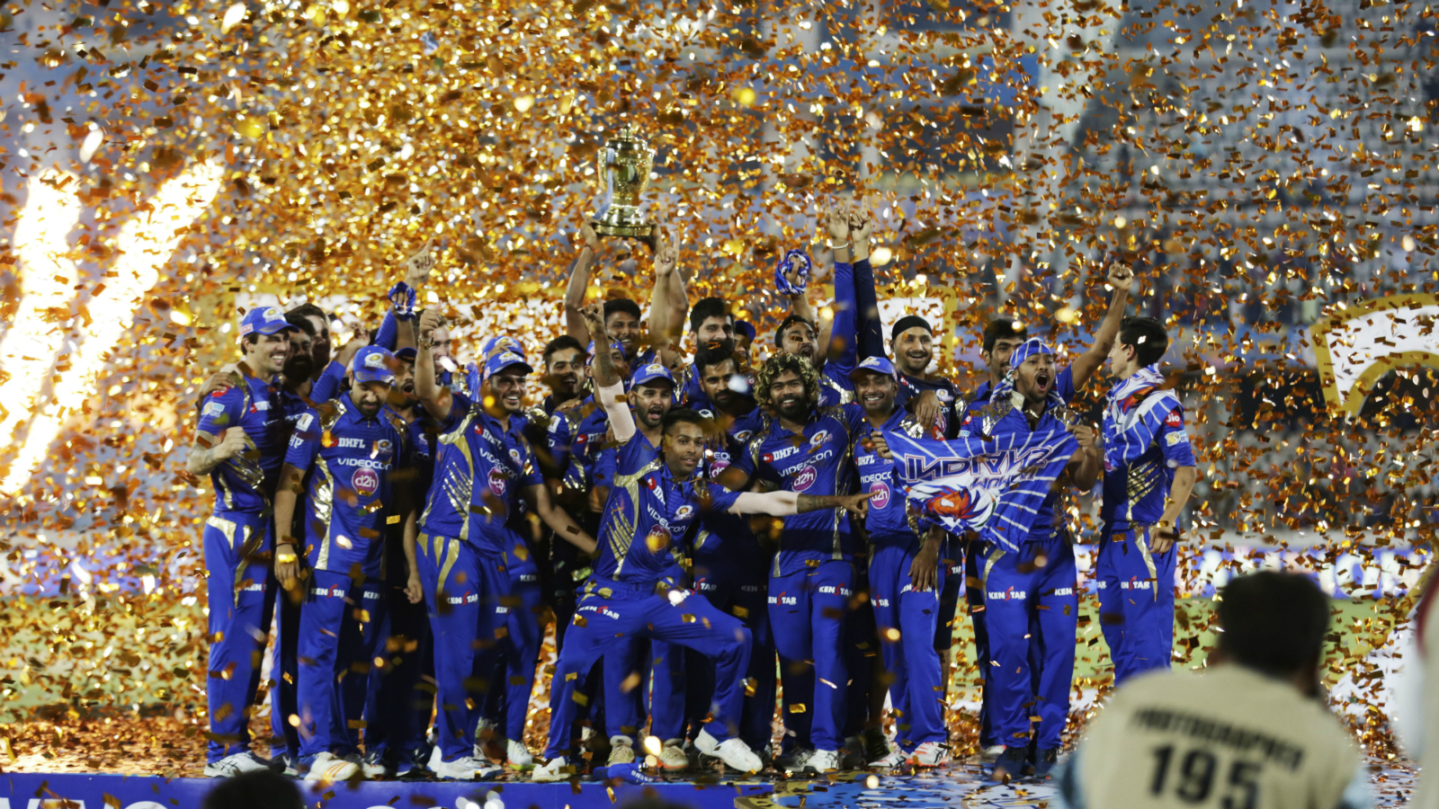Mumbai Indians pose with trophy after wining the Indian Premier League (IPL) cricket final match against Rising Pune Supergiant in Hyderabad, India, Monday, May 22, 2017. (AP Photo/Tsering Topgyal)