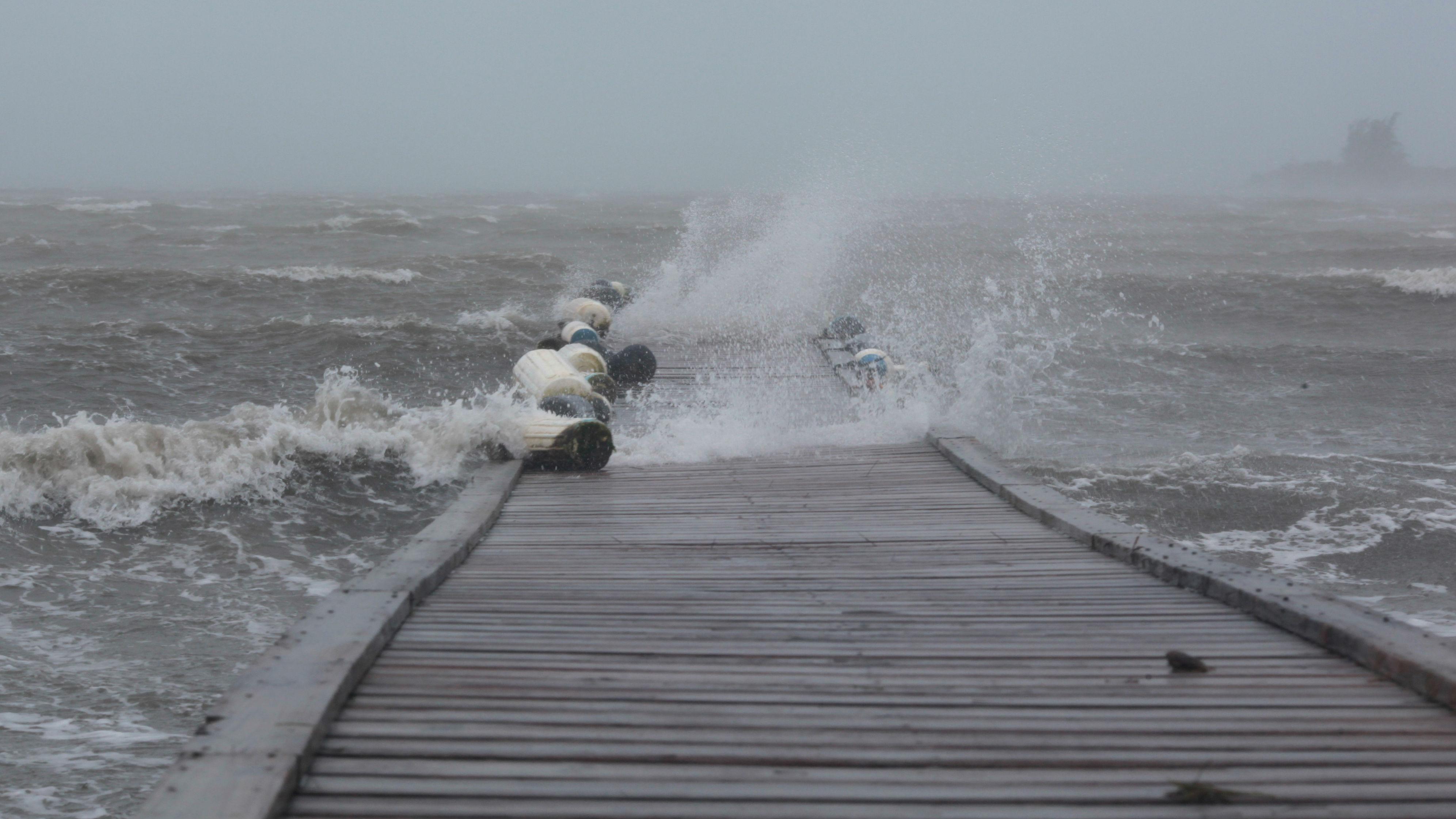 Waves break over a dock as Hurricane Irma slammed across islands in the northern Caribbean in Fajardo, Puerto Rico.