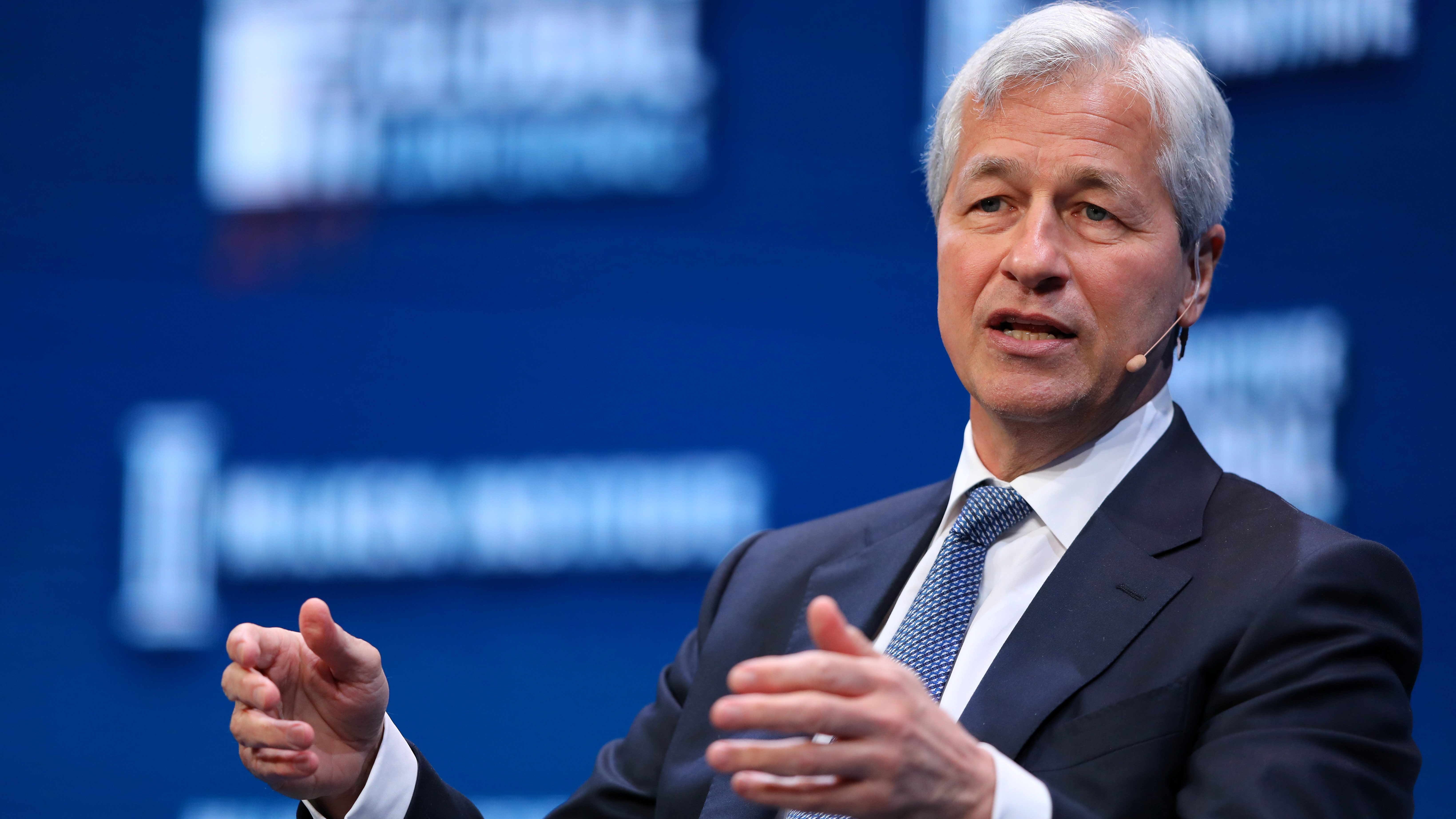Jamie Dimon, Chairman and CEO of JPMorgan Chase & Co. speaks during the Milken Institute Global Conference in Beverly Hills, California, U.S., May 1, 2017.