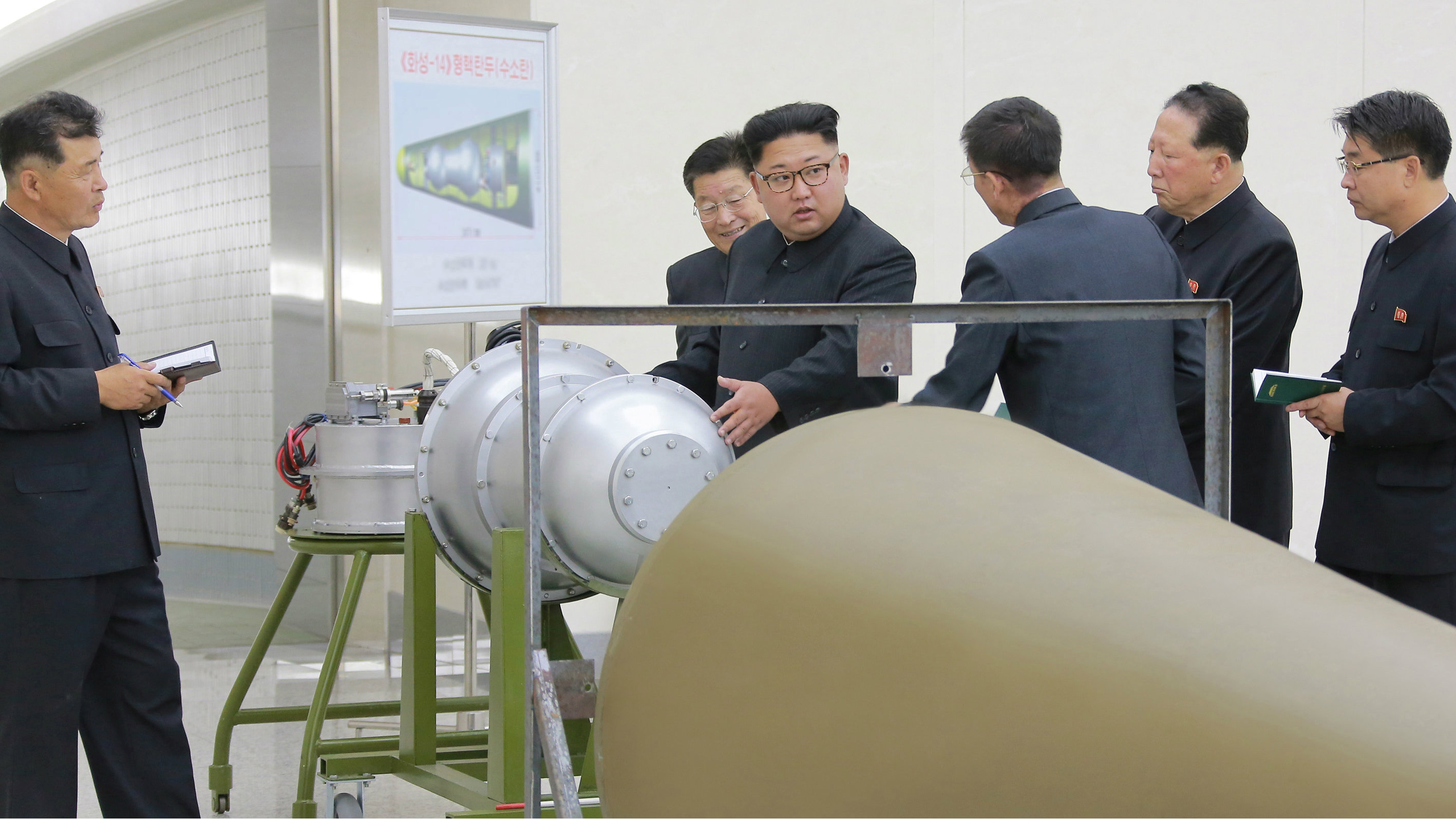 North Korean leader Kim Jong Un provides guidance on a nuclear weapons program in this undated photo released by North Korea's Korean Central News Agency (KCNA) in Pyongyang September 3, 2017.