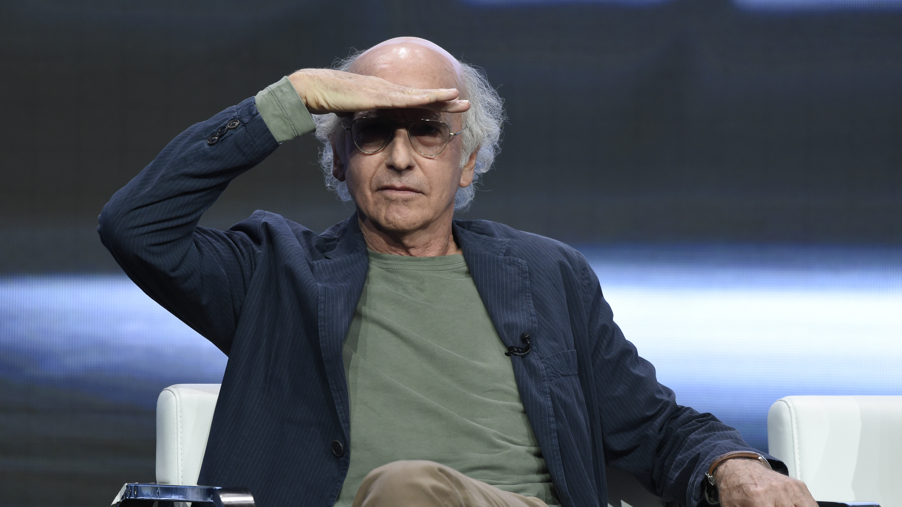 Larry David looking out into a crowd.