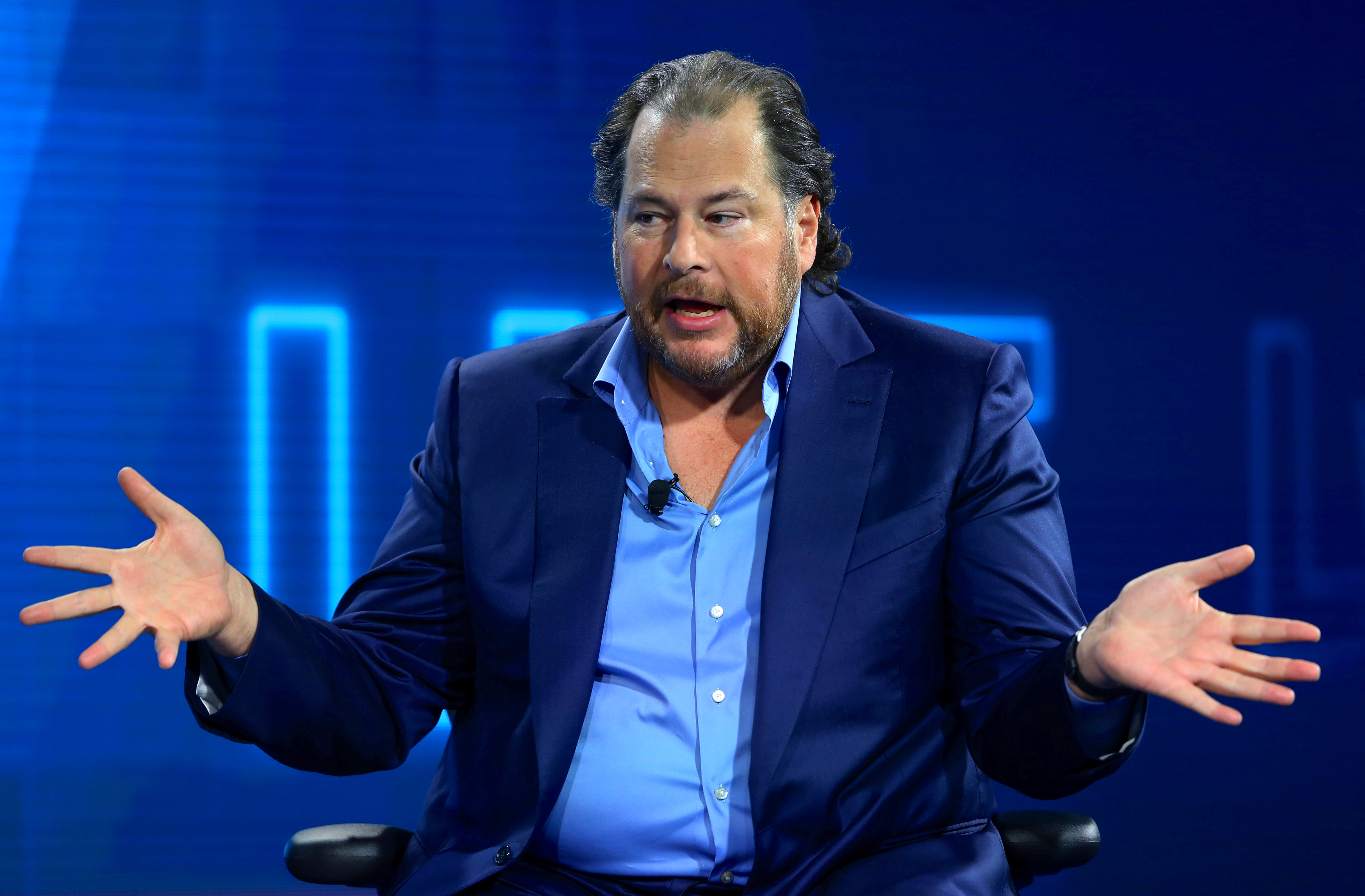 Marc Benioff, chairman and CEO of Salesforce, speaks at the WSJD Live conference in Laguna Beach