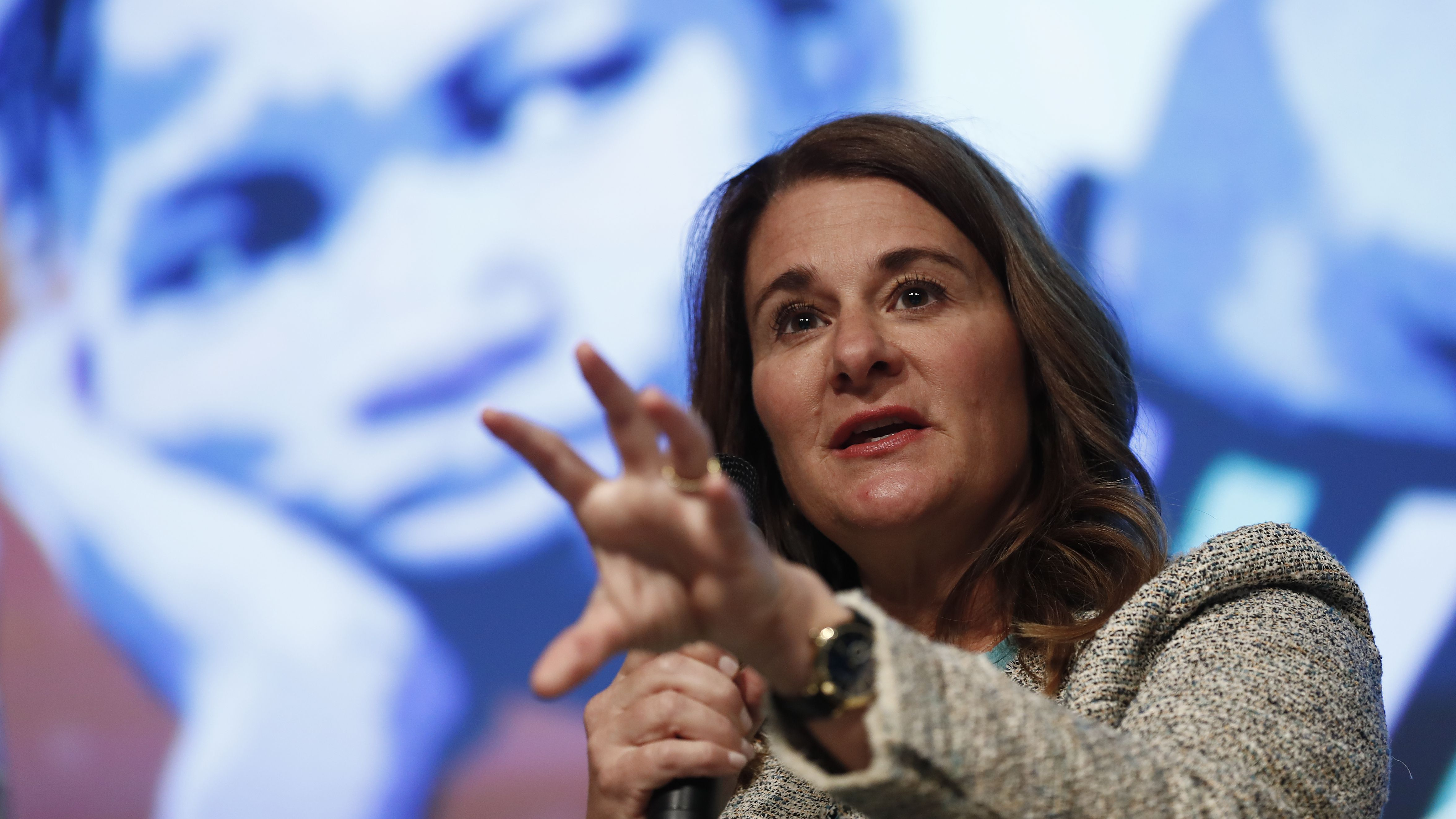 "Melinda Gates speaks during the ""Generation Now Investing in Adolescents Today to Shape the Works of Tomorrow"" panel at the 2017 World Bank Group Spring Meetings in Washington, Thursday, April 20, 2017. The leaders of the International Monetary Fund and the World Bank begin their spring meetings with the mission of strengthening a gradually improving global economy while facing resistance to free trade and political unrest in some countries. (AP Photo/Carolyn Kaster)"
