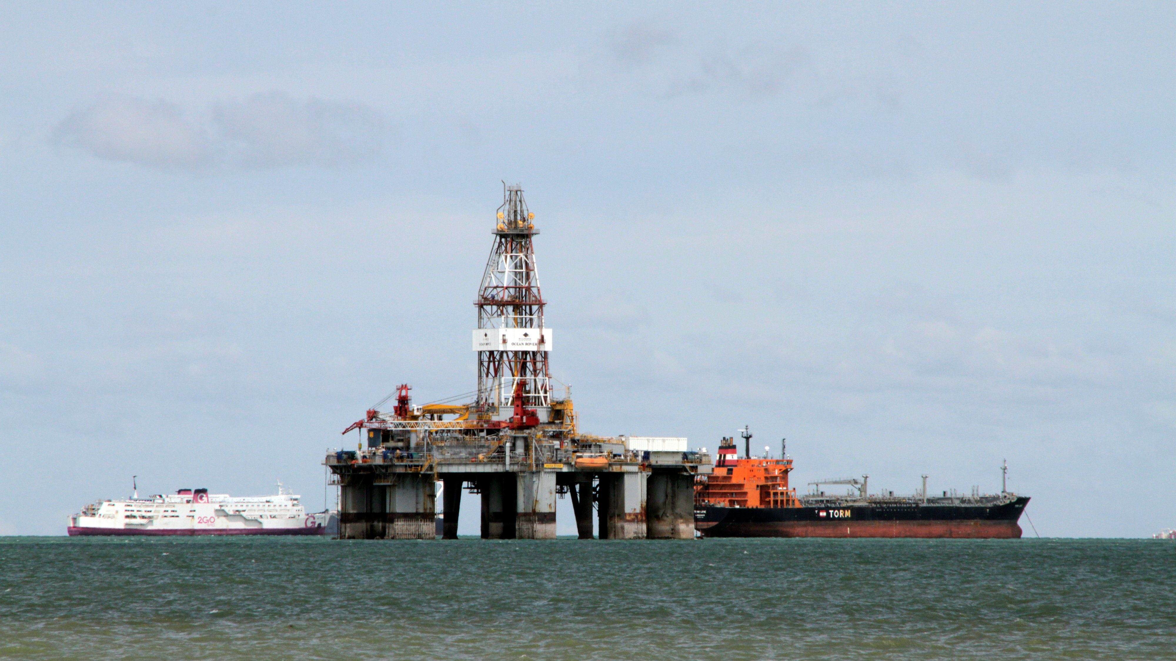 An idle oil rig off the coast of Pangerang