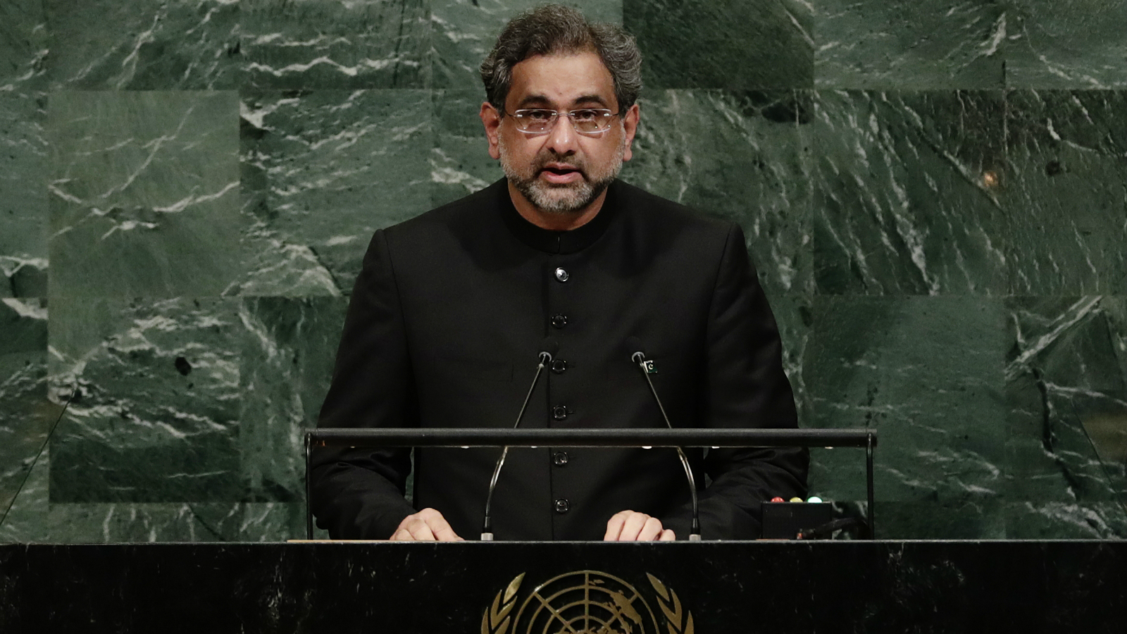 Prime minister of Pakistan Shahid Khaqan Abbasi addresses the United Nations General Assembly Thursday, Sept. 21, 2017, at the United Nations headquarters.