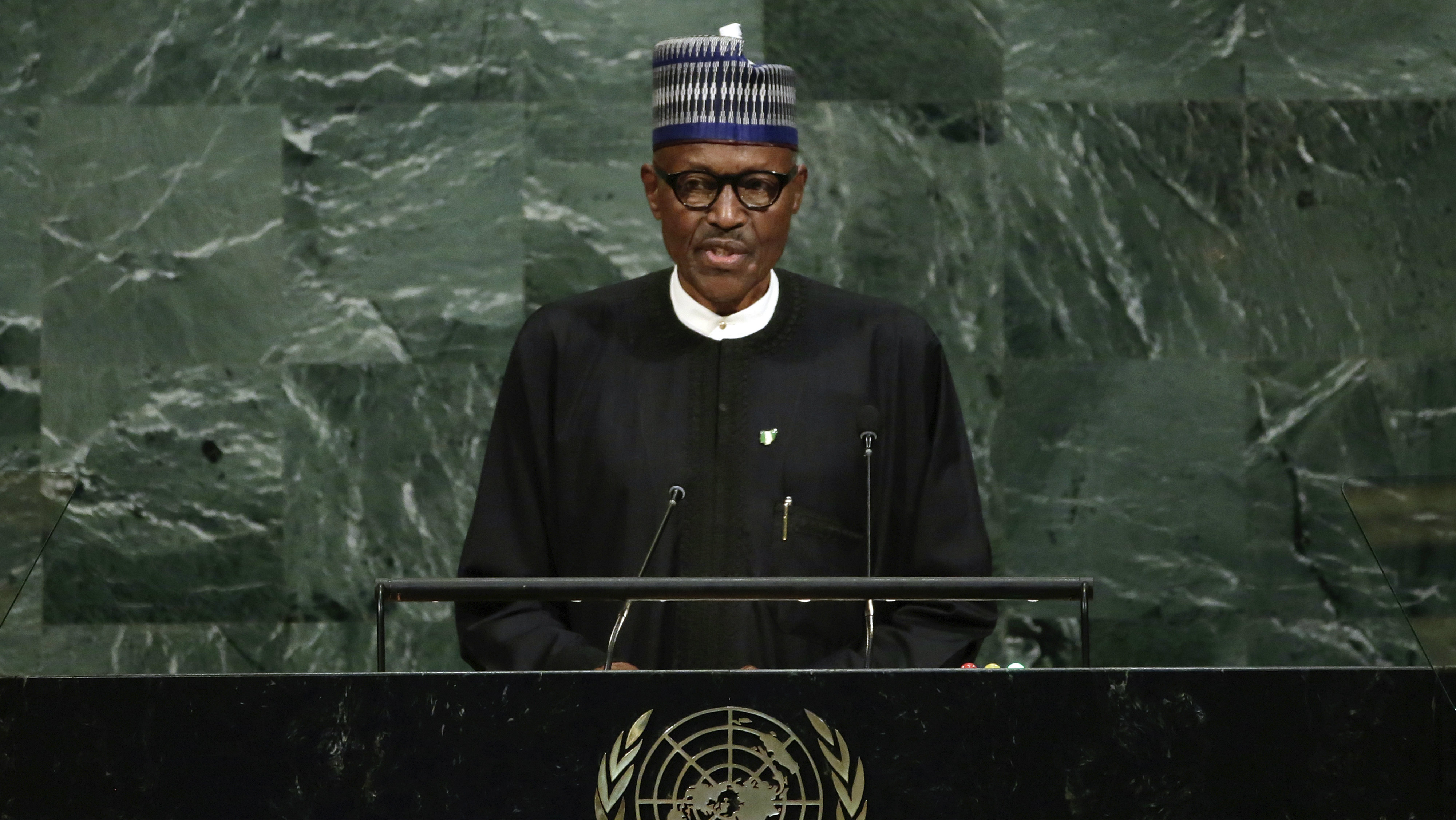 President Muhammadu Buhari of Nigeria addresses the 72nd session of the United Nations General Assembly, at U.N. headquarters, Tuesday, Sept. 19, 2017.