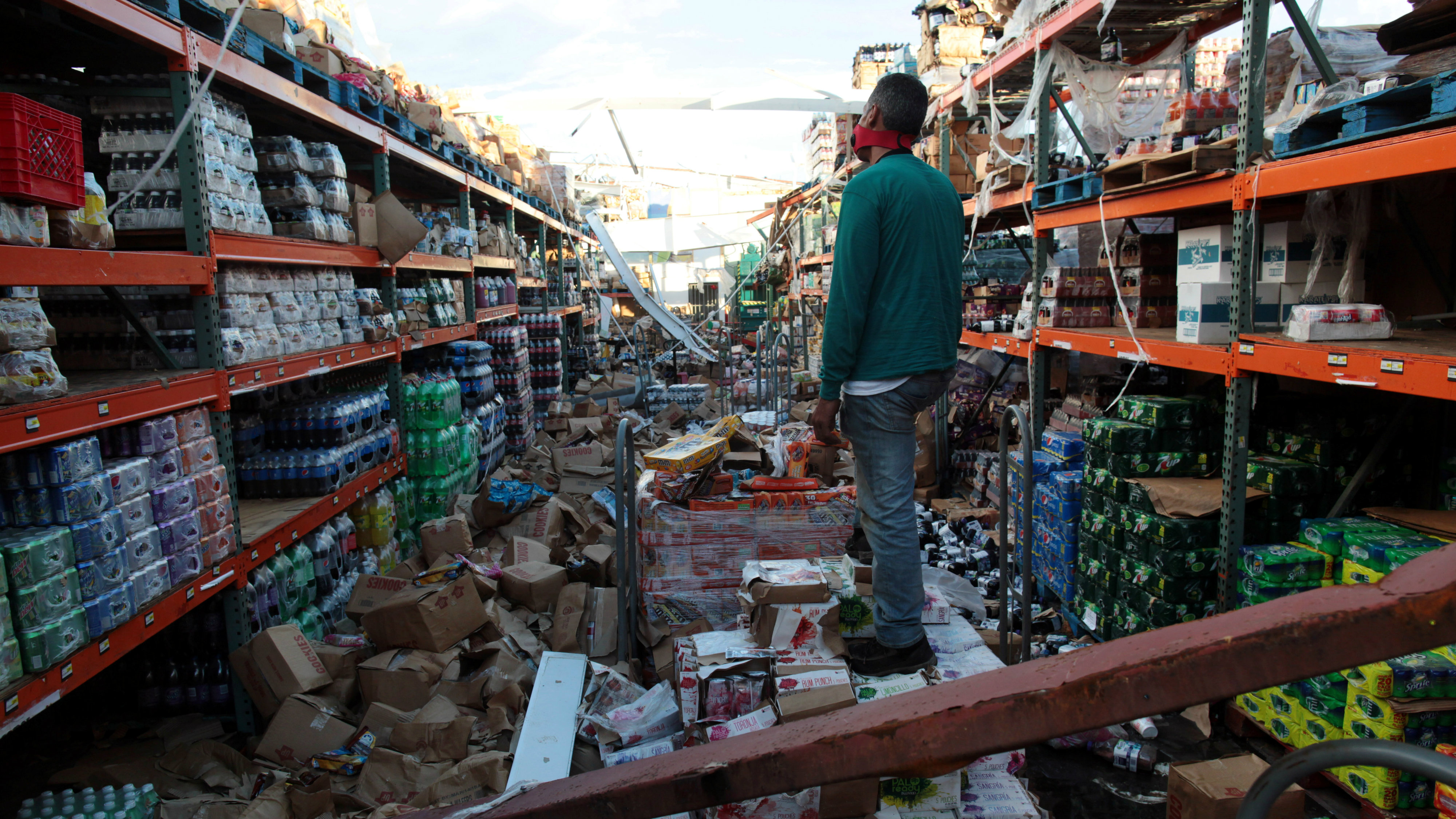 Inside of a destroyed supermarket by Hurricane Maria in Salinas, Puerto Rico