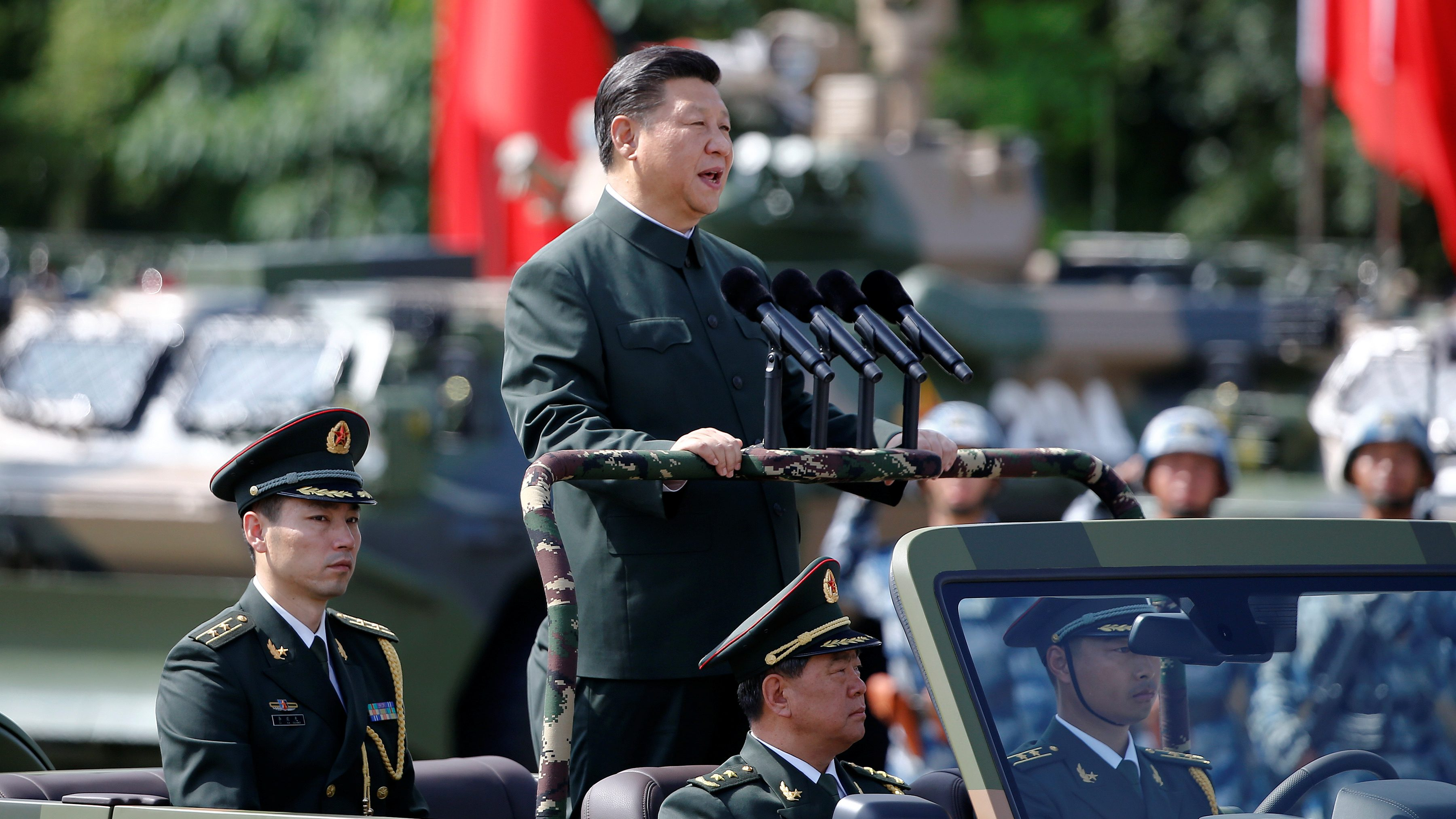 Chinese President Xi Jinping inspects troops at the People's Liberation Army (PLA) Hong Kong Garrison as part of events marking the 20th anniversary of the city's handover from British to Chinese rule, in Hong Kong, China June 30, 2017.