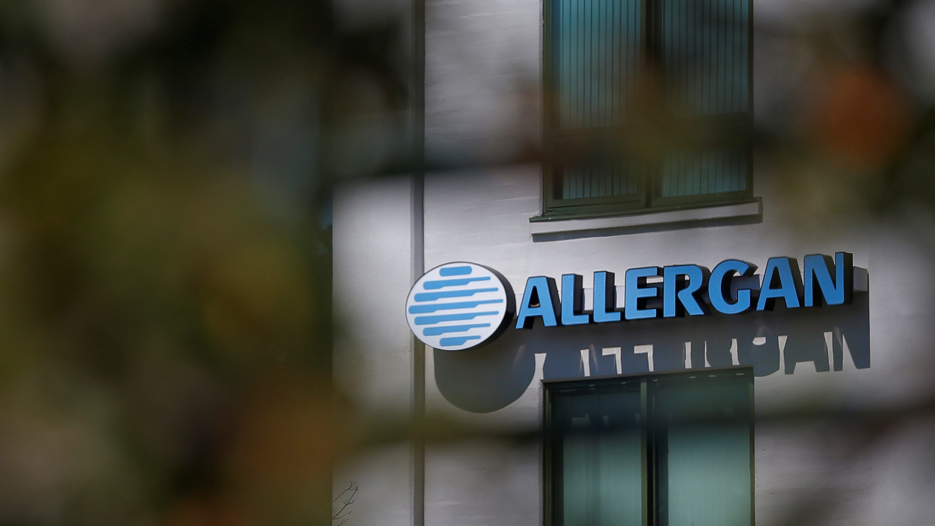 A sign marks Allergan's offices in Medford, Massachusetts, U.S., July 31, 2017.  - RC1413DB3290