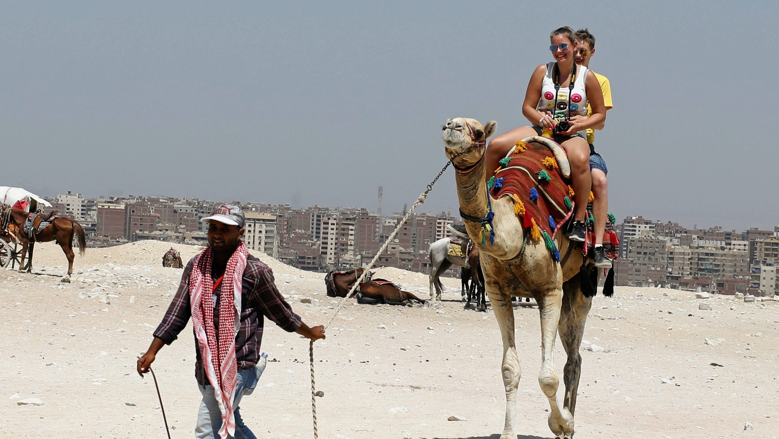 A man pulls a rope as he leads a camel carrying tourists at the Giza Pyramids on the outskirts of Cairo, Egypt August 7, 2017.