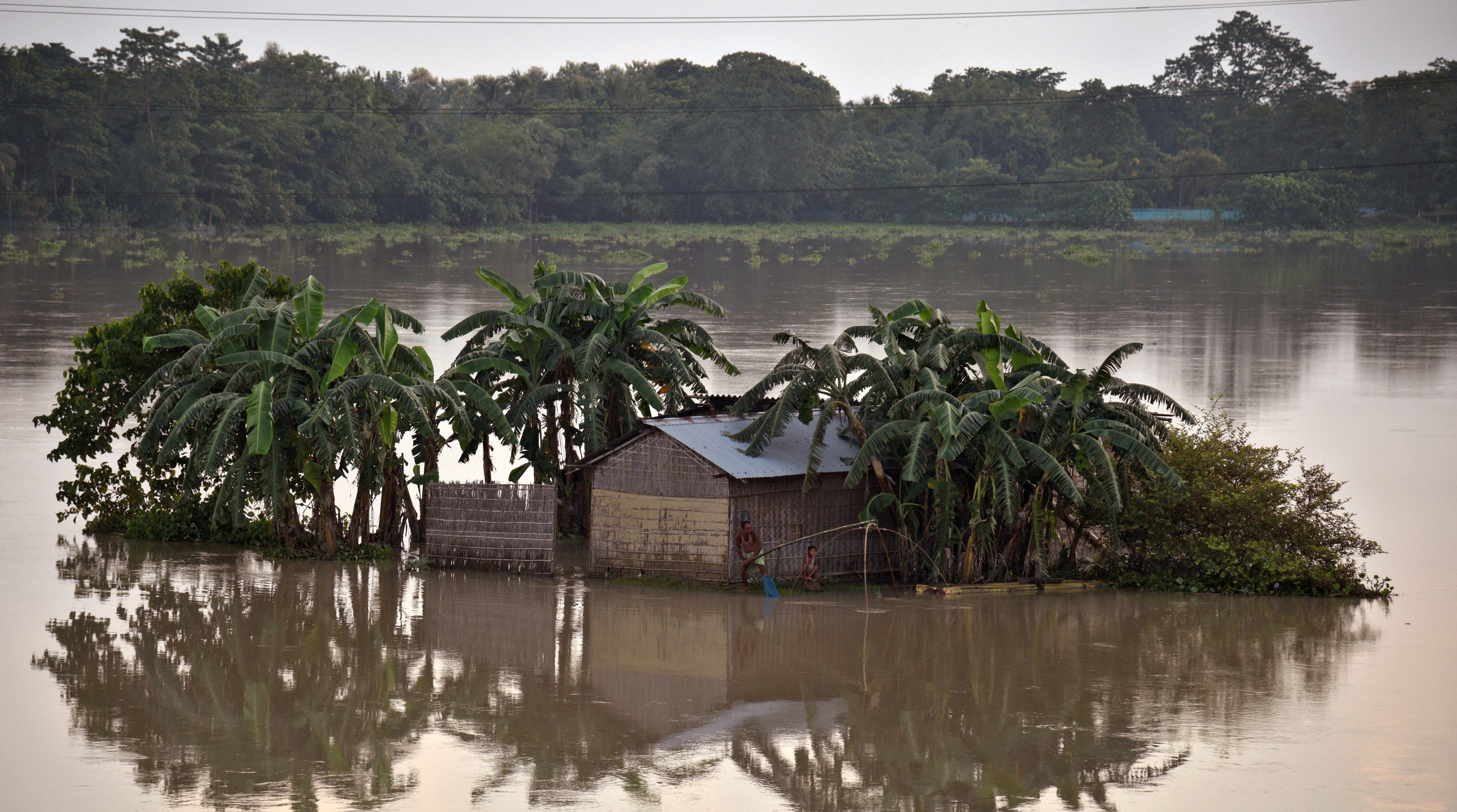 A man casts his fishing net in the flood waters next to his partially submerged hut in Morigaon district
