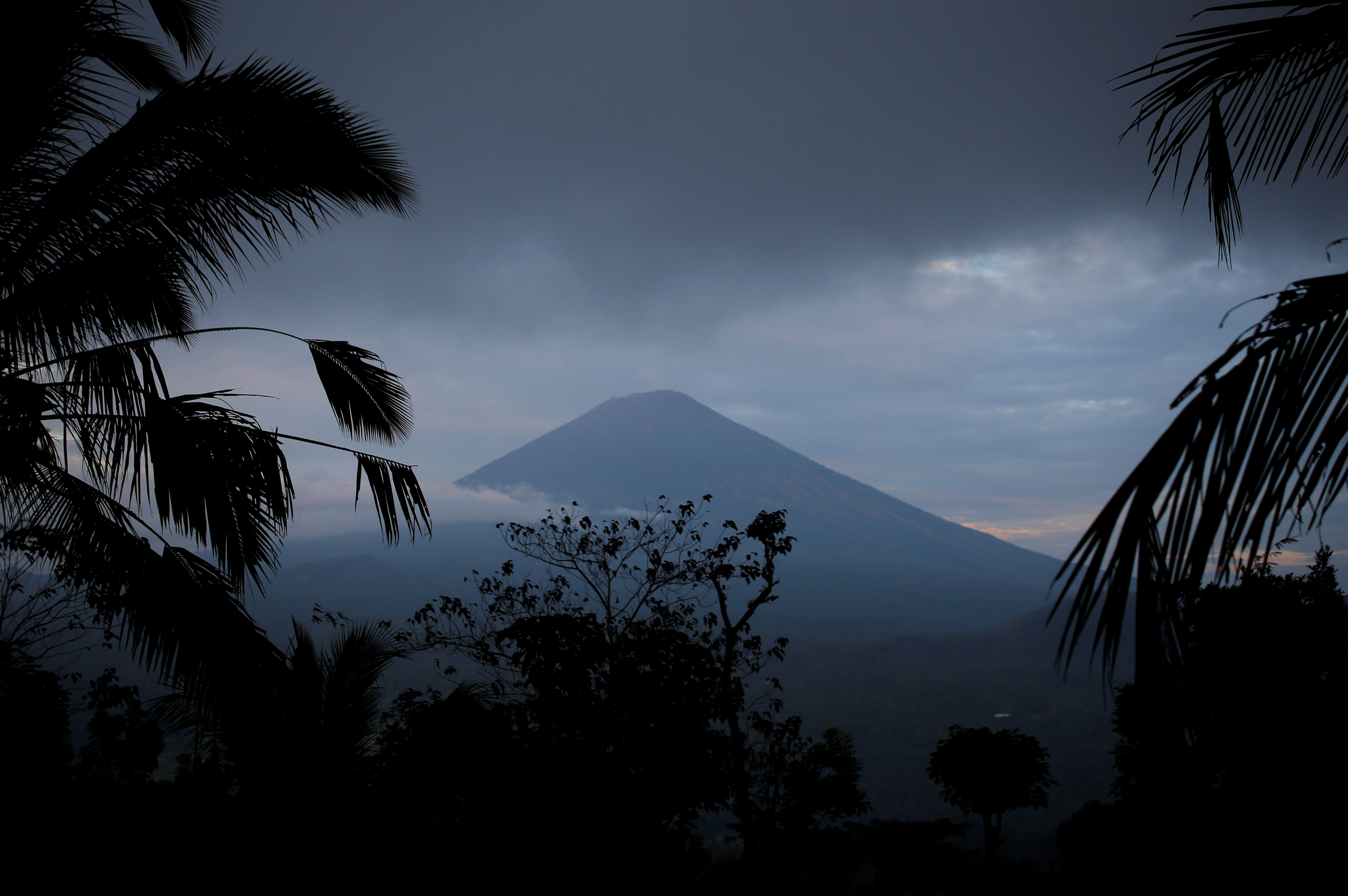 A view of Mount Agung, a volcano on the highest alert level, from Karangasem Regency, on the resort island of Bali, Indonesia, September 24, 2017.