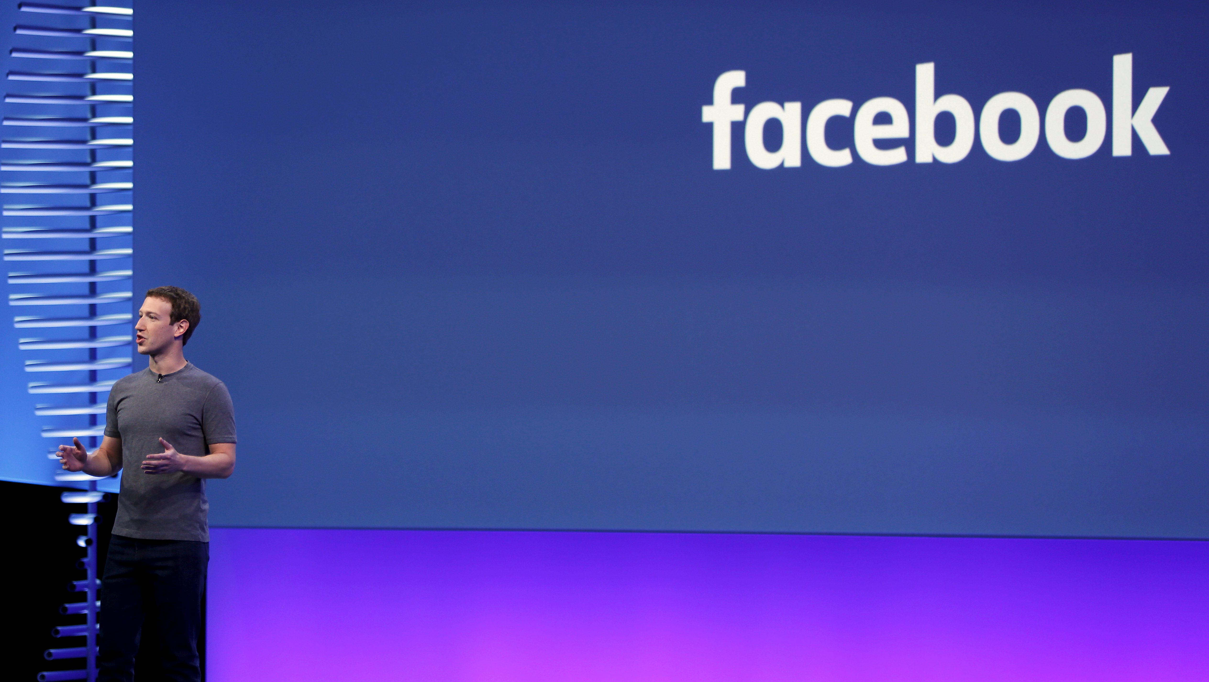 FILE PHOTO: Facebook CEO Mark Zuckerberg speaks on stage during the Facebook F8 conference in San Francisco, California, U.S. on April 12, 2016.    REUTERS/Stephen Lam/File Photo - RC16E2763940