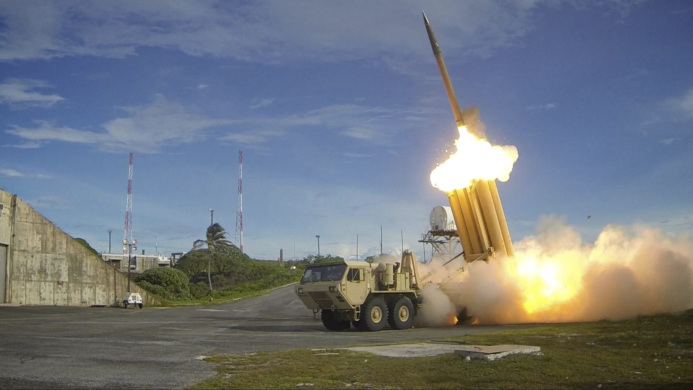 A Terminal High Altitude Area Defense (THAAD) interceptor is launched during a successful intercept test, in this undated handout photo provided by the U.S. Department of Defense, Missile Defense Agency. THAAD provides the U.S. military a land-based, mobile capability to defend against short- and medium-range ballistic missiles, intercepting incoming missiles inside and outside the earth's atmosphere.