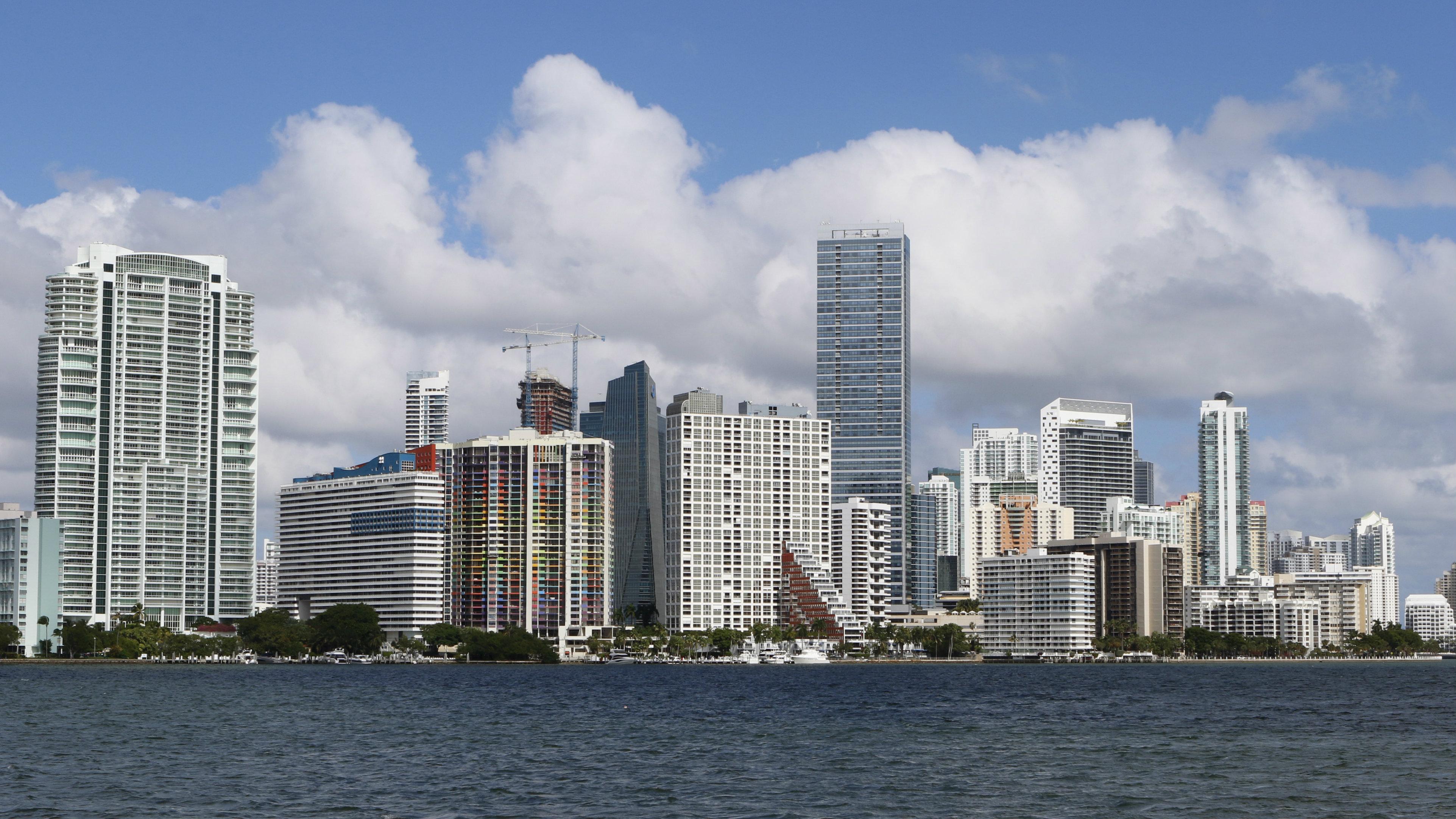 Miami's downtown, full of glittering skyscrapers.