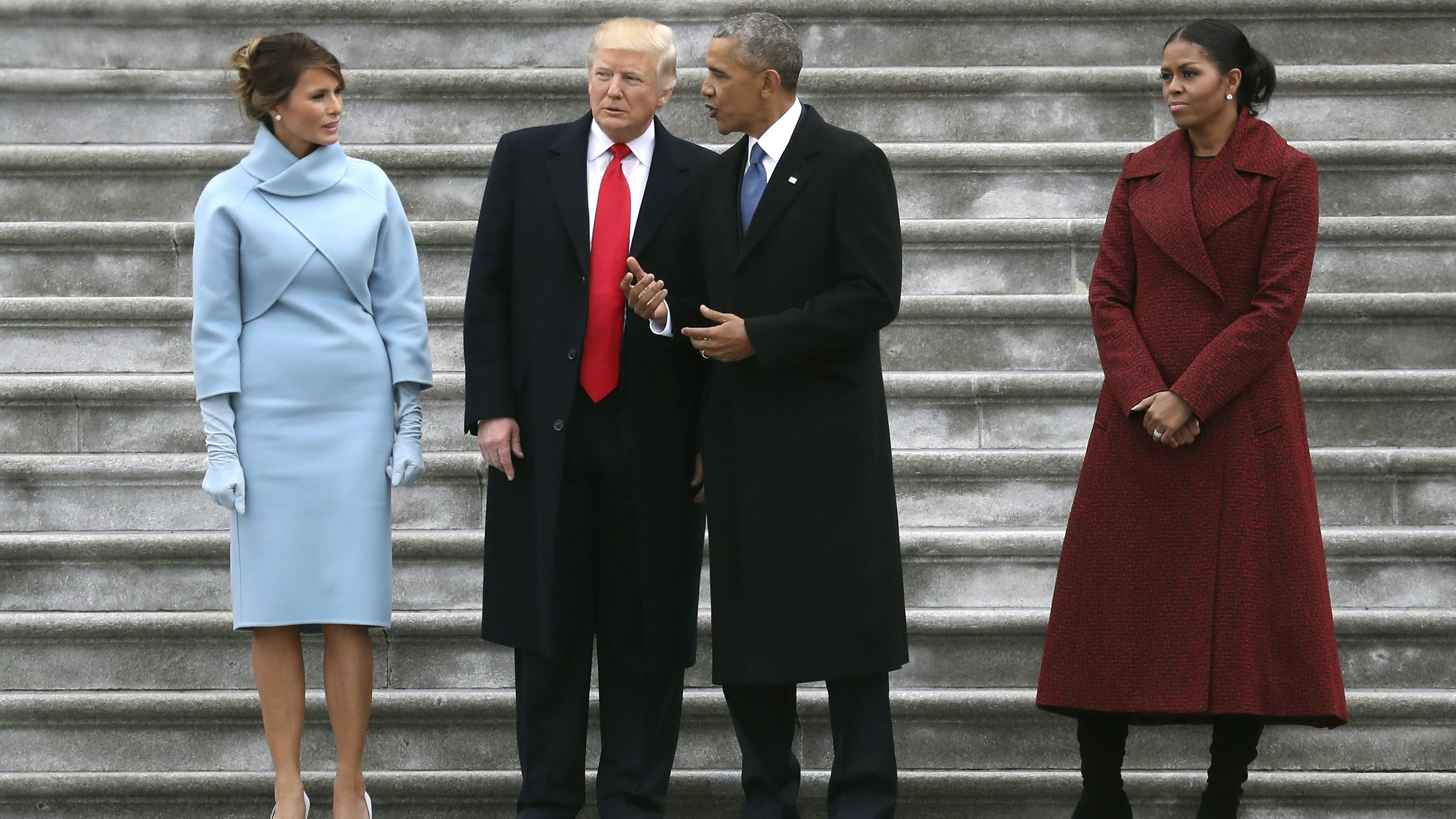 Donald Trump and Barack Obama stand on the steps of the US Capitol