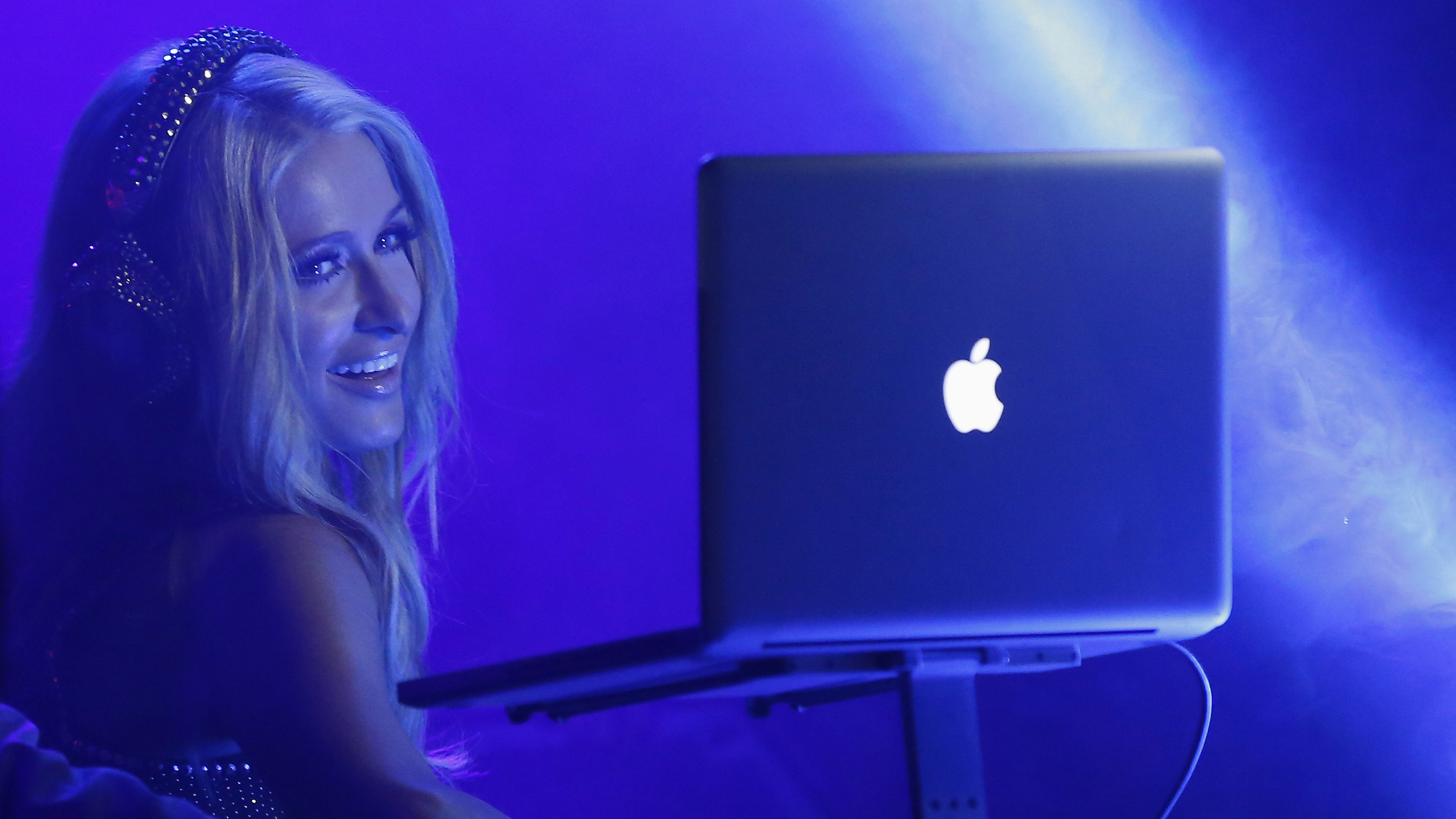 """Socialite Paris Hilton performs a DJ set at the party for the release of her new single """"Good Time"""" at Create Nightclub in Los Angeles, California October 9, 2013."""