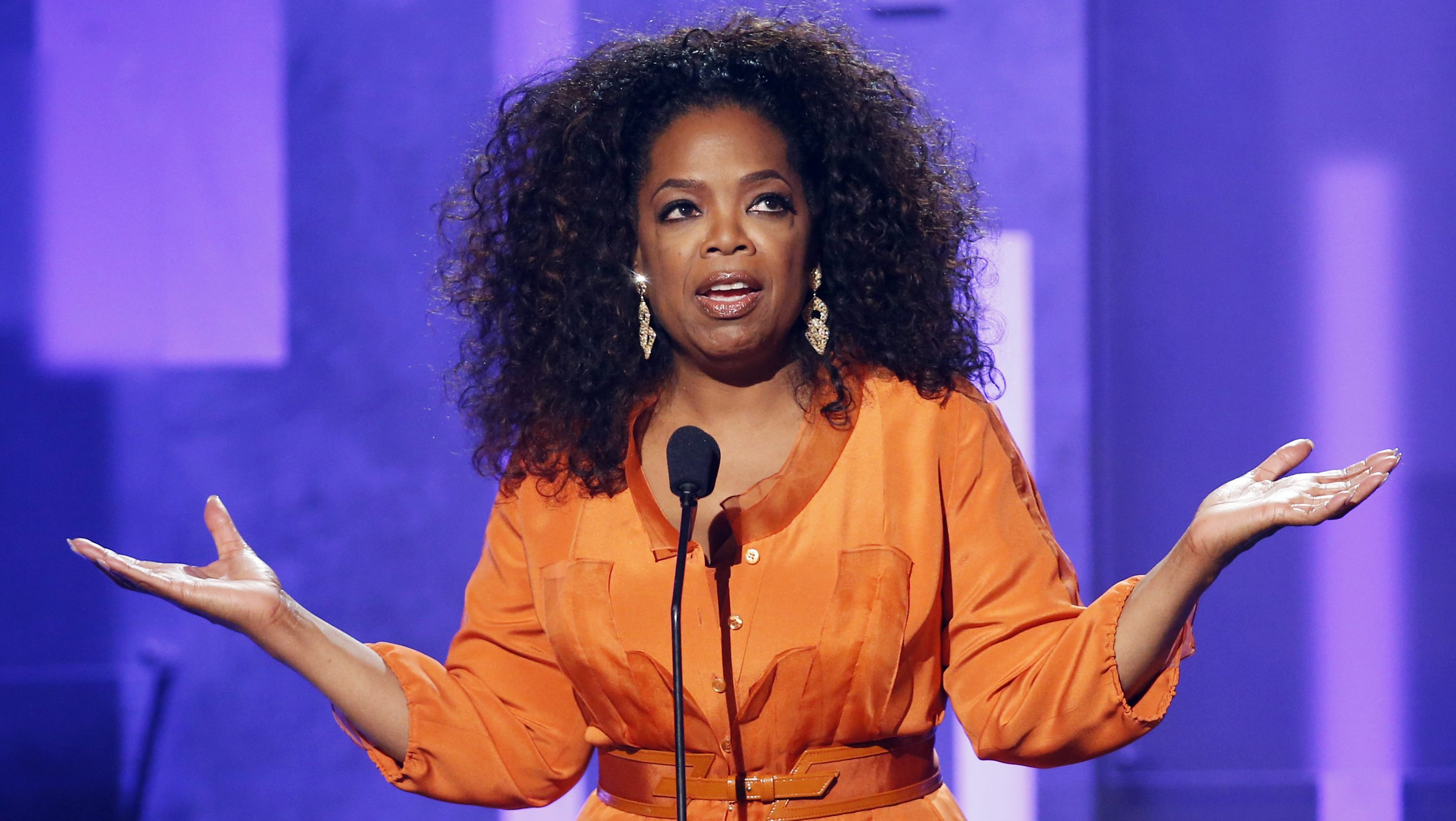 Oprah Winfrey speaks on stage during a tribute to Nelson Mandela