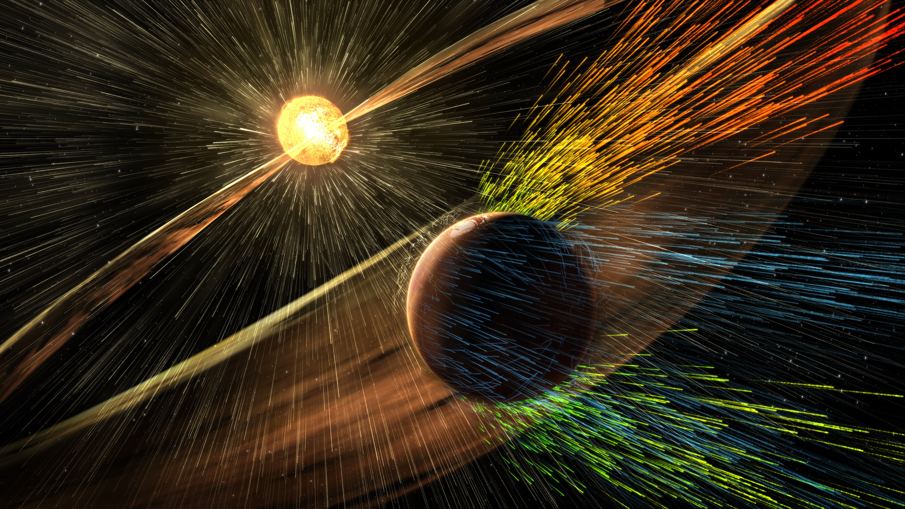 An undated artist's rendering depicts a solar storm hitting Mars and stripping ions from the planet's upper atmosphere in this NASA handout released November 5, 2015. Scientists have documented a solar storm blasting away Mars' atmosphere, an important clue in a long-standing mystery of how a planet that was once like Earth turned into a cold, dry desert, research published on Thursday shows. On March 8, NASA's Mars-orbiting MAVEN spacecraft caught such a storm stripping away the planet's atmosphere, according to a report published in this week's issue of the journal Science
