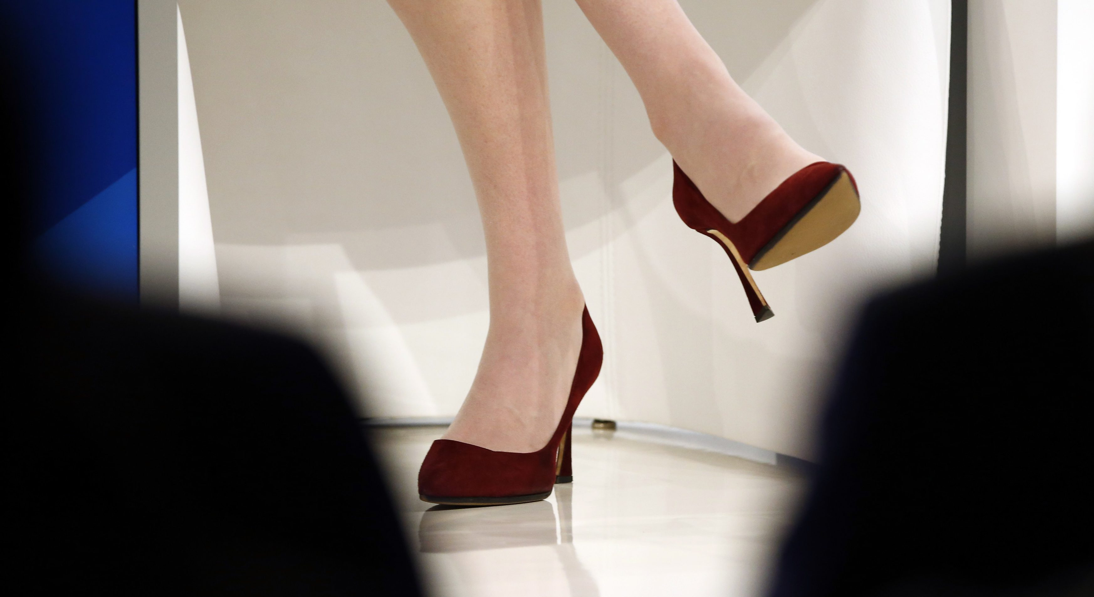 "The shoes of Sheryl Sandberg, Chief Operating Officer of Facebook are pictured during the session ""The Transformation of Tomorrow"" at the annual meeting of the World Economic Forum (WEF) in Davos, Switzerland January 20, 2016."