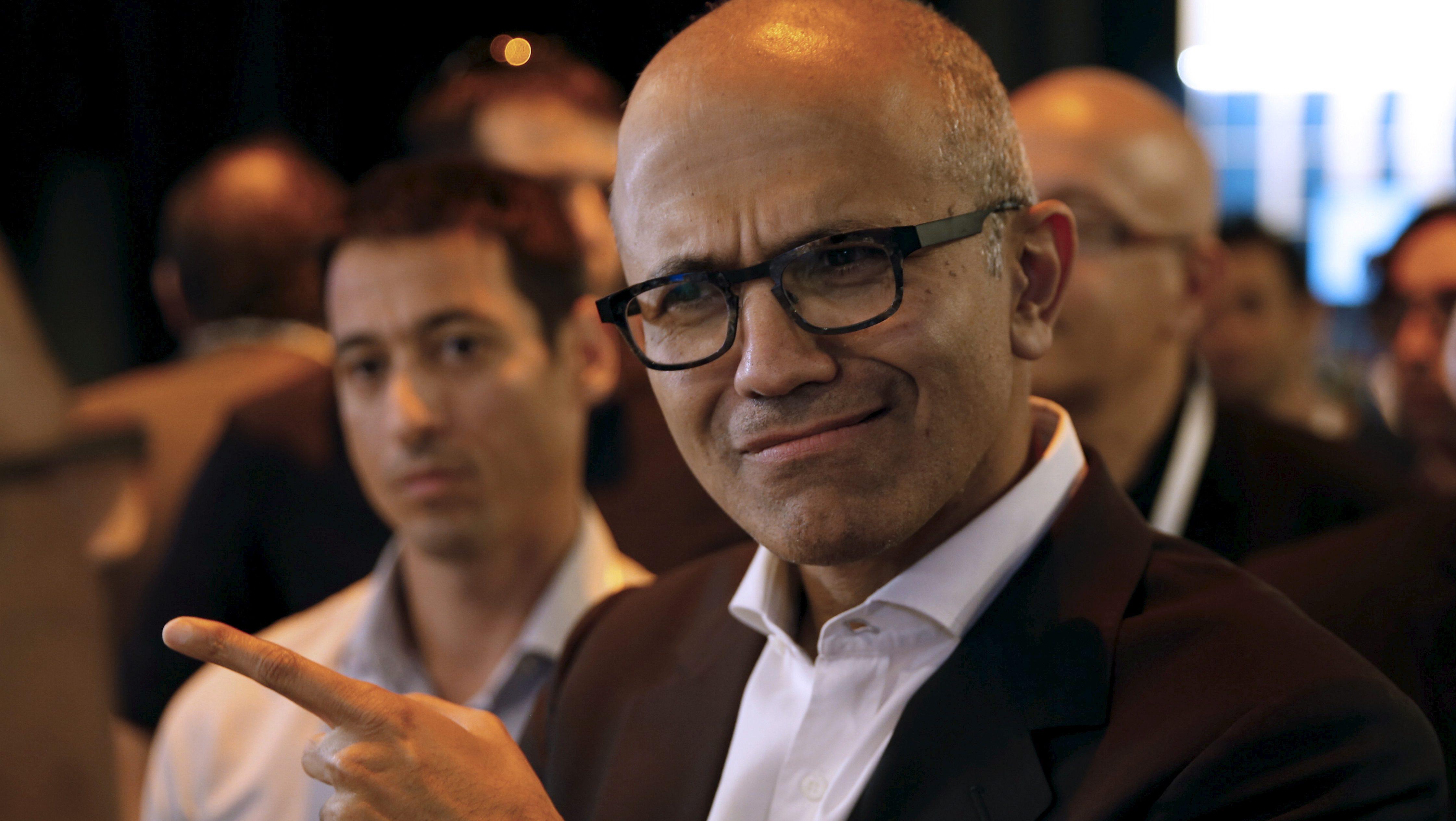 Satya Nadella, CEO of Microsoft gestures